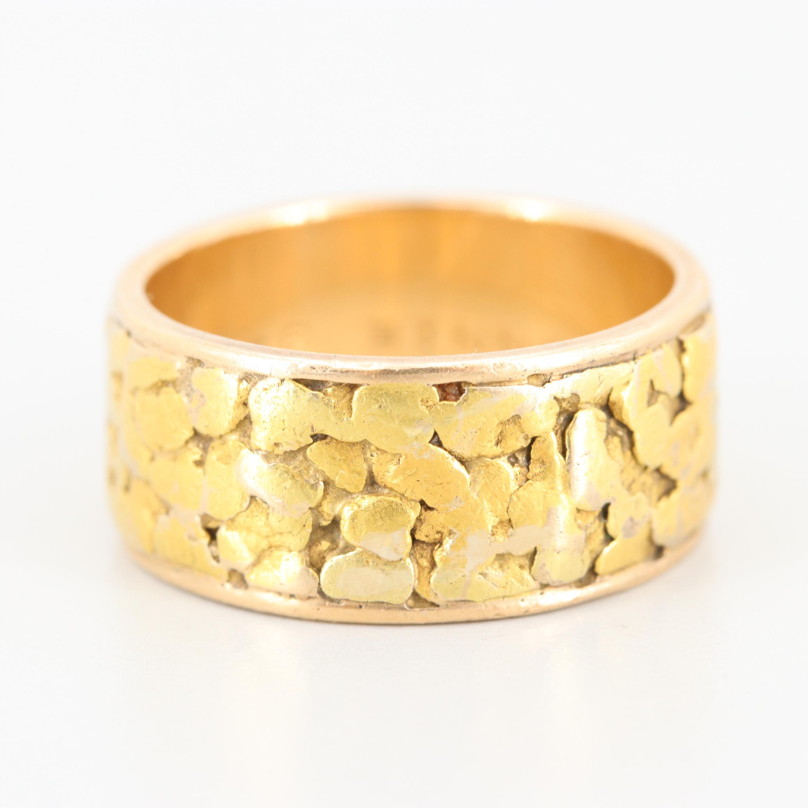 Vintage 14K Yellow Gold Band with Applied 18K Nugget Texture