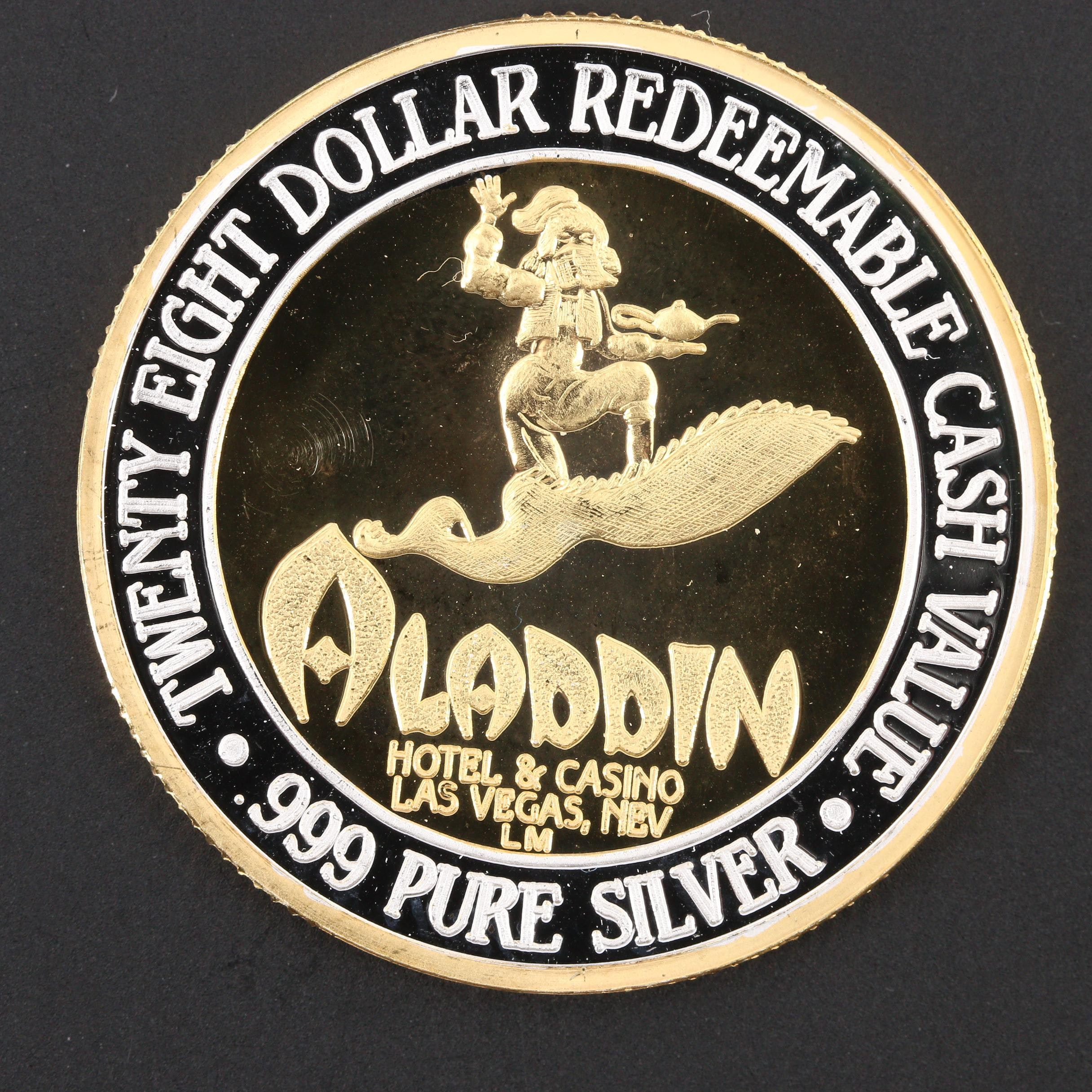 $28 Cash Value Gold Plated .999 Silver Gaming Token from Aladdin Casino