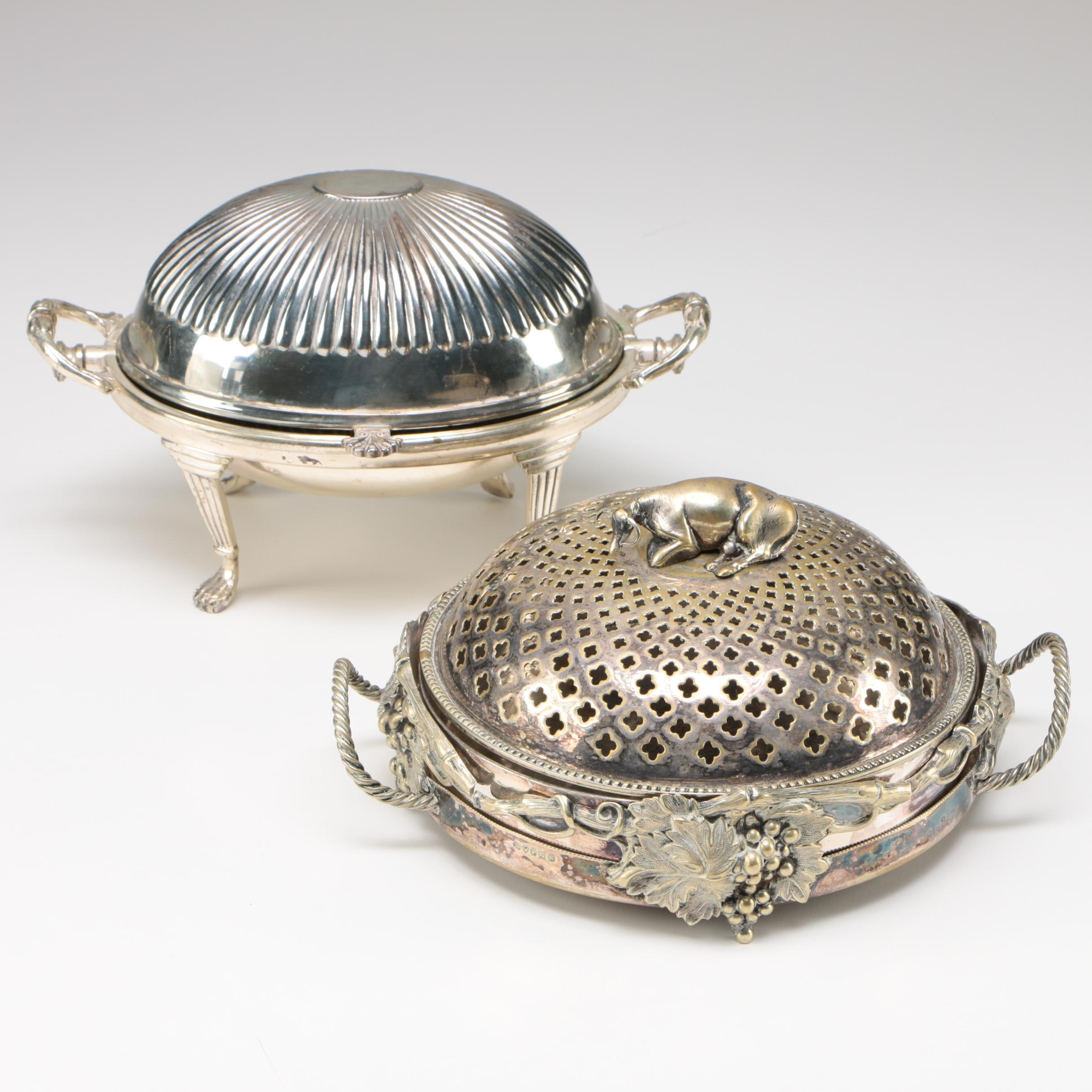 Two Victorian Silver Plate Butter Dishes