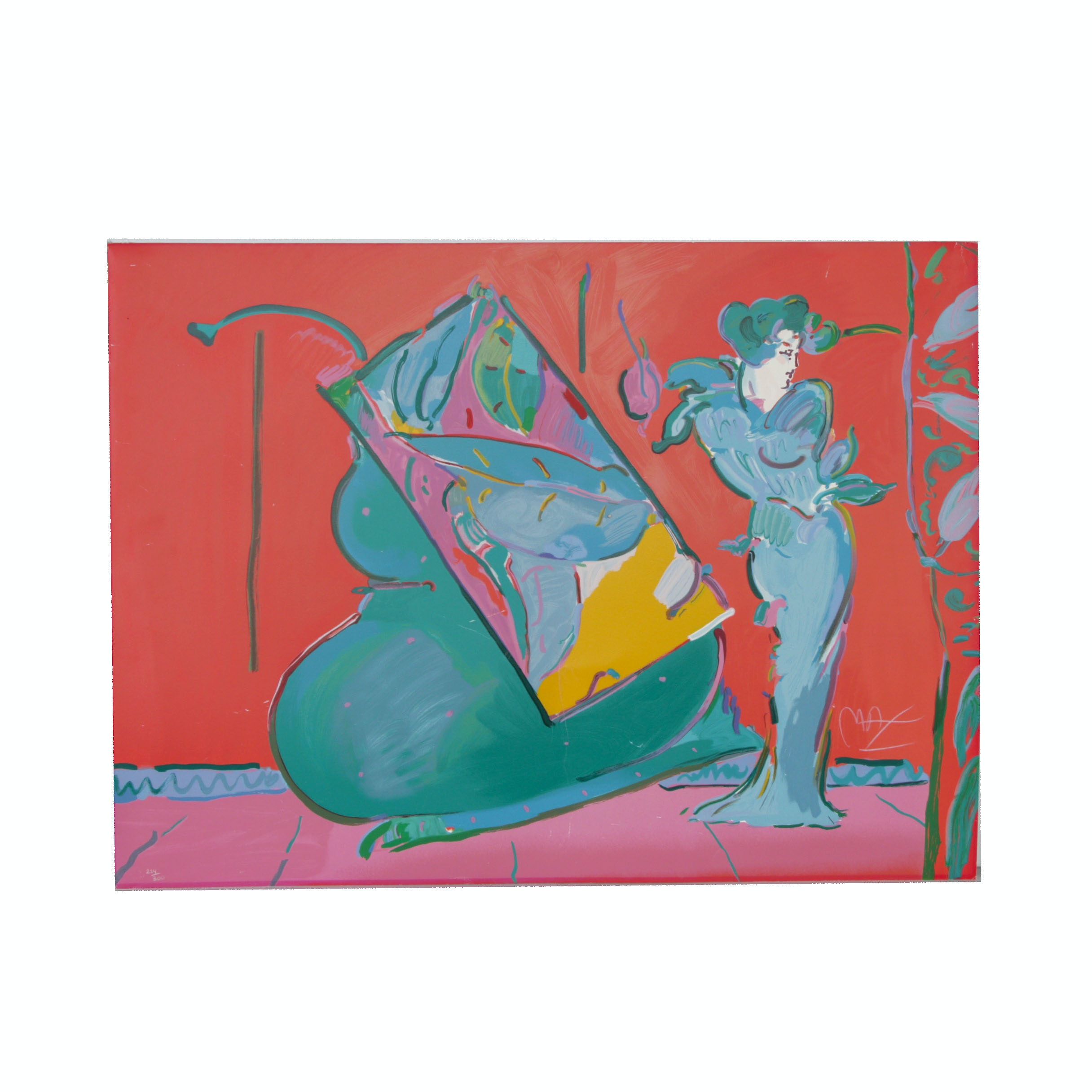 "Peter Max Serigraph ""Lady on Red with Floating Vase"""