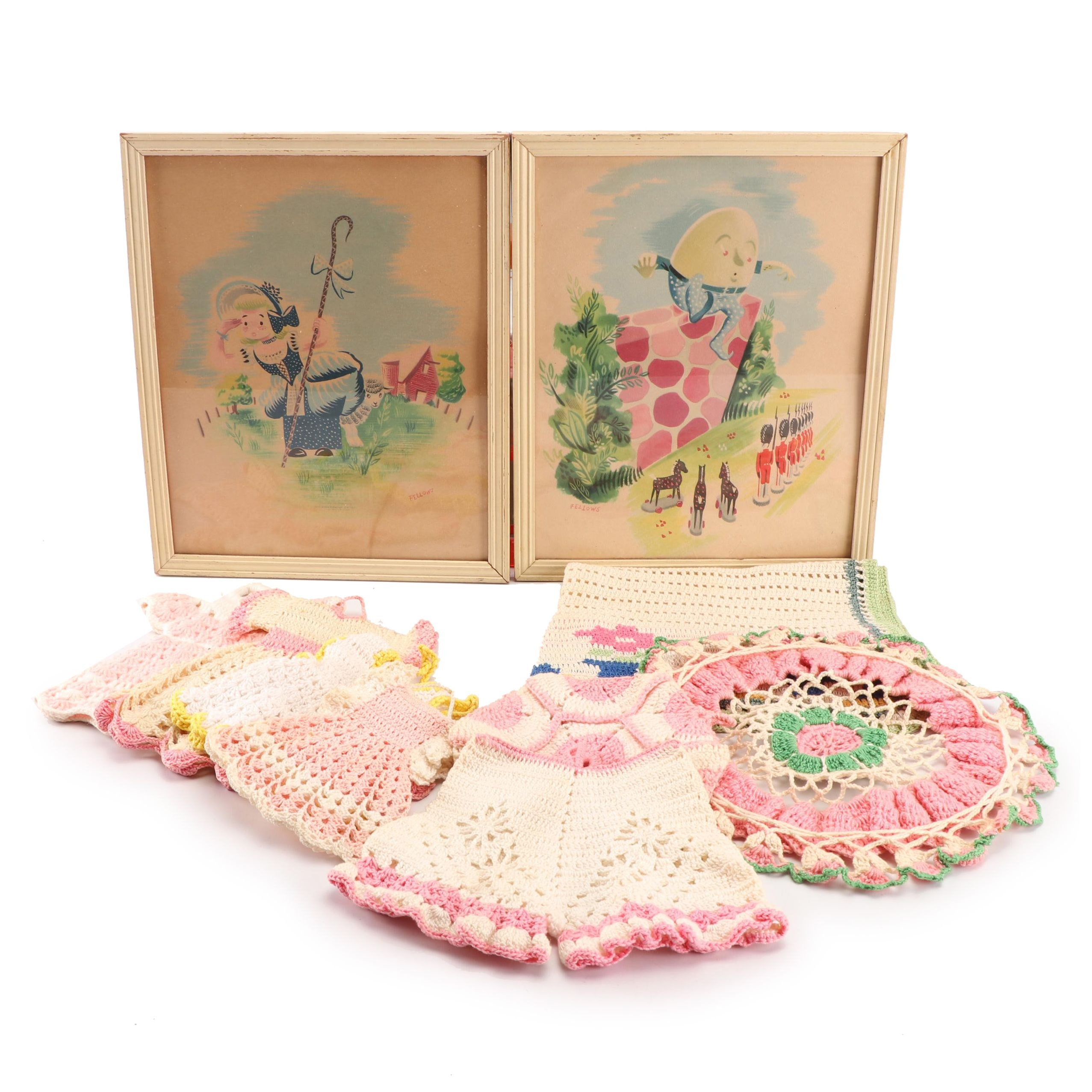 Vintage Crocheted Doilies and Dress Drink Coasters with Fairy Tale Prints