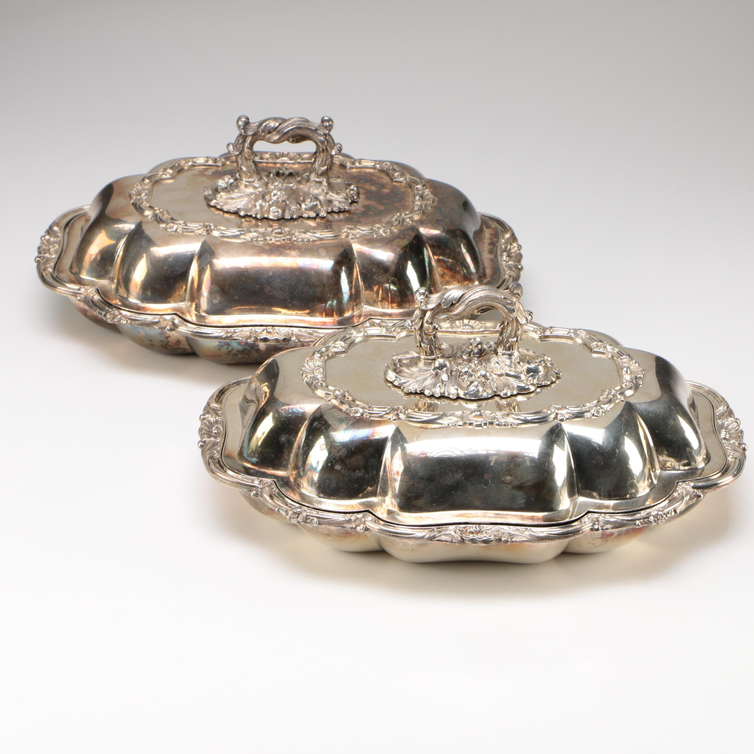 Pair of English Sheffield Silver Plate Tureens