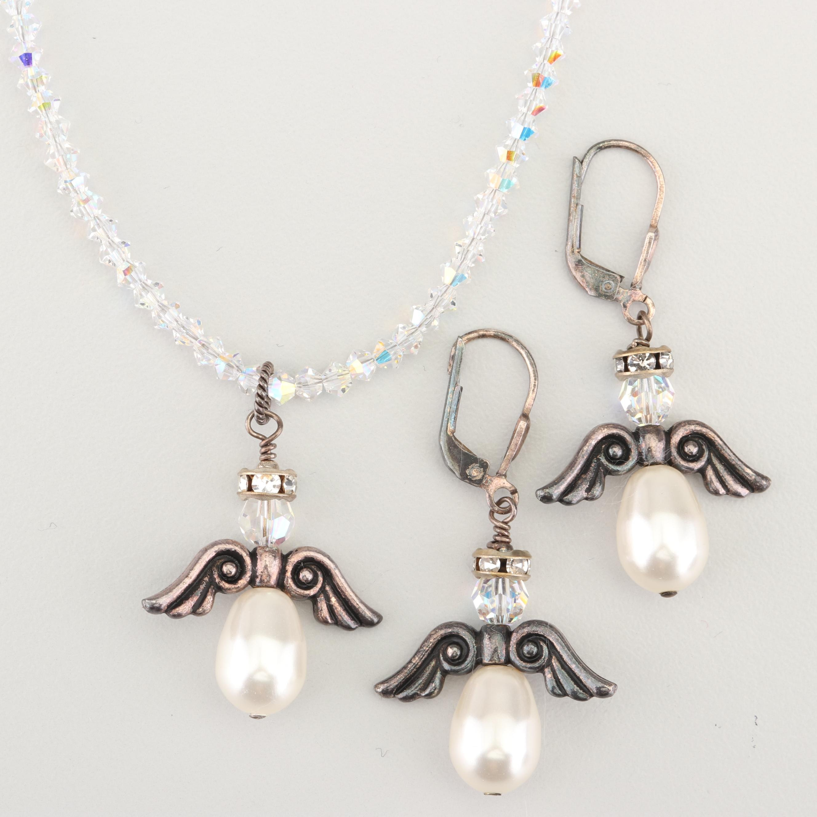Sterling Silver Crystal Bead and Imitation Pearl Jewelry Set