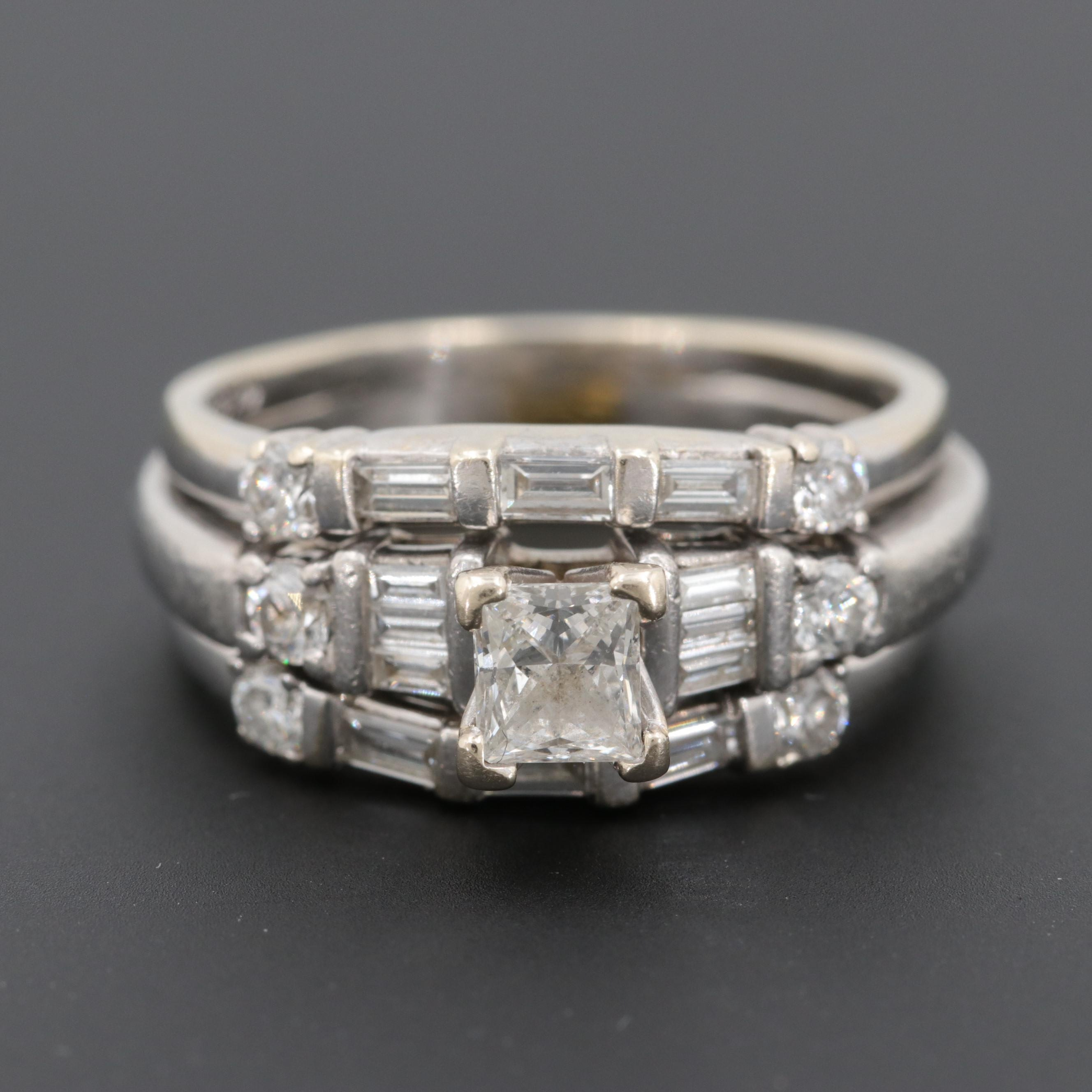 14K White Gold and Platinum 1.04 CTW Diamond Wedding Set