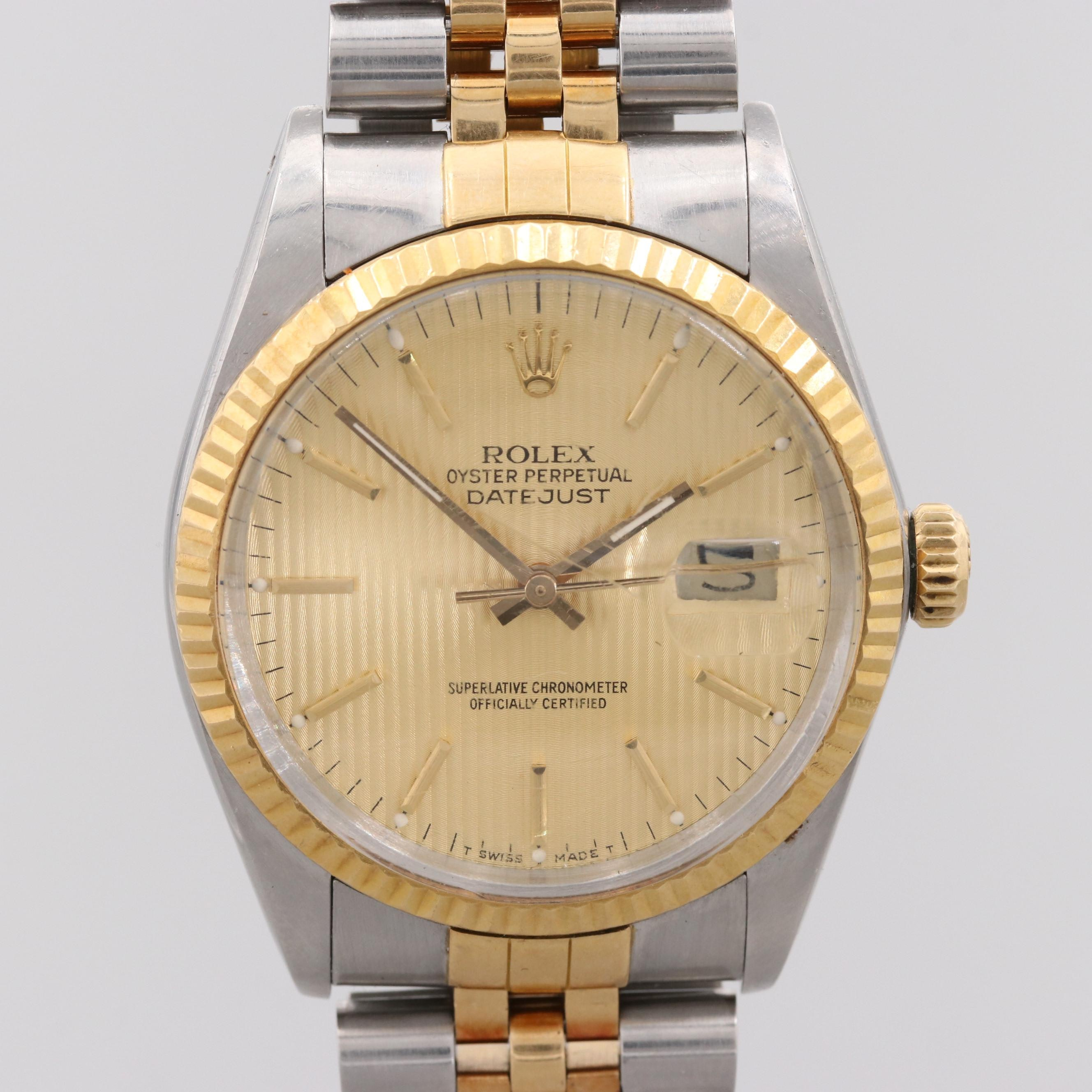 Rolex Datejust Stainless Steel and 18K Yellow Gold Wristwatch, 1987