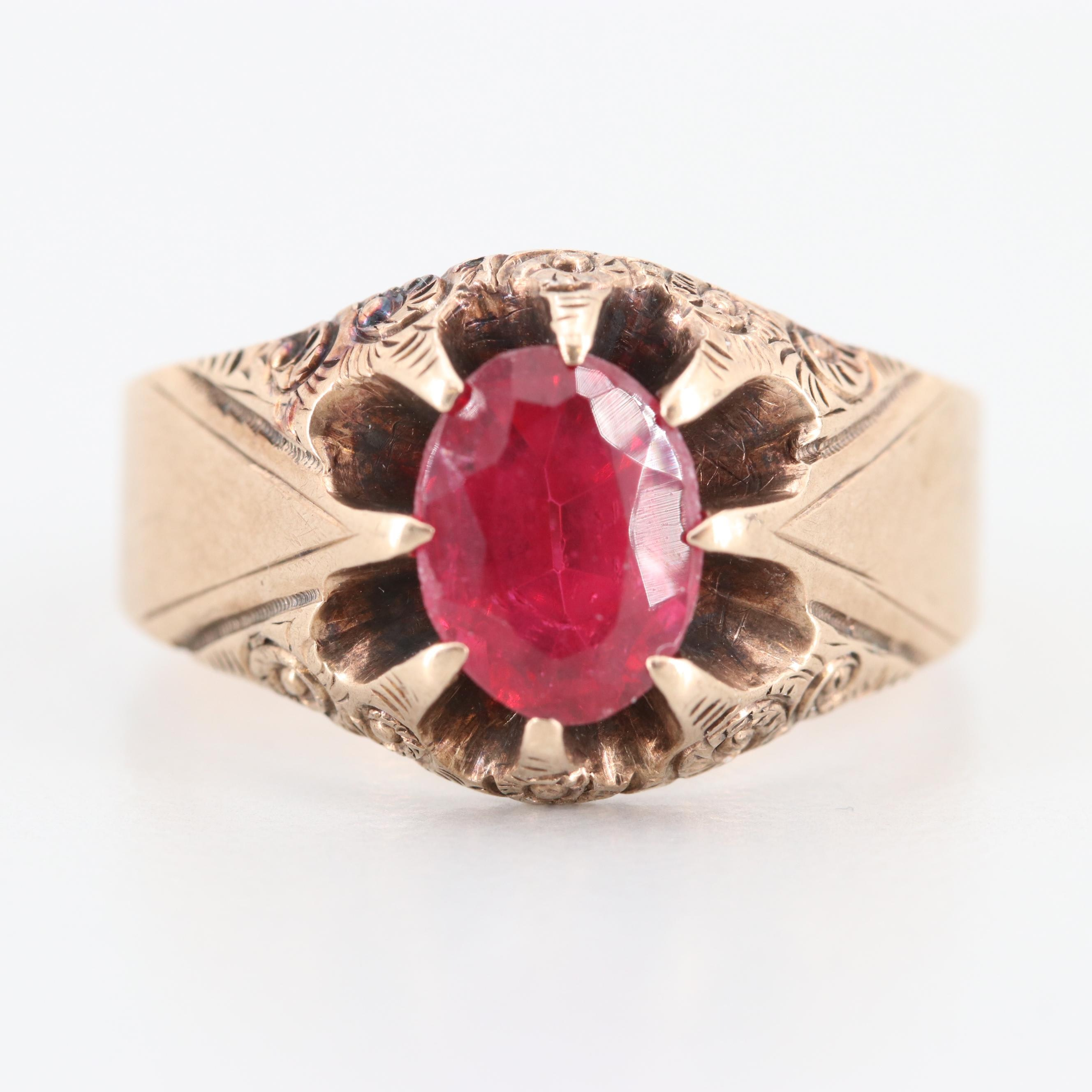 Victorian 10K Yellow Gold Garnet and Glass Doublet Belcher Ring
