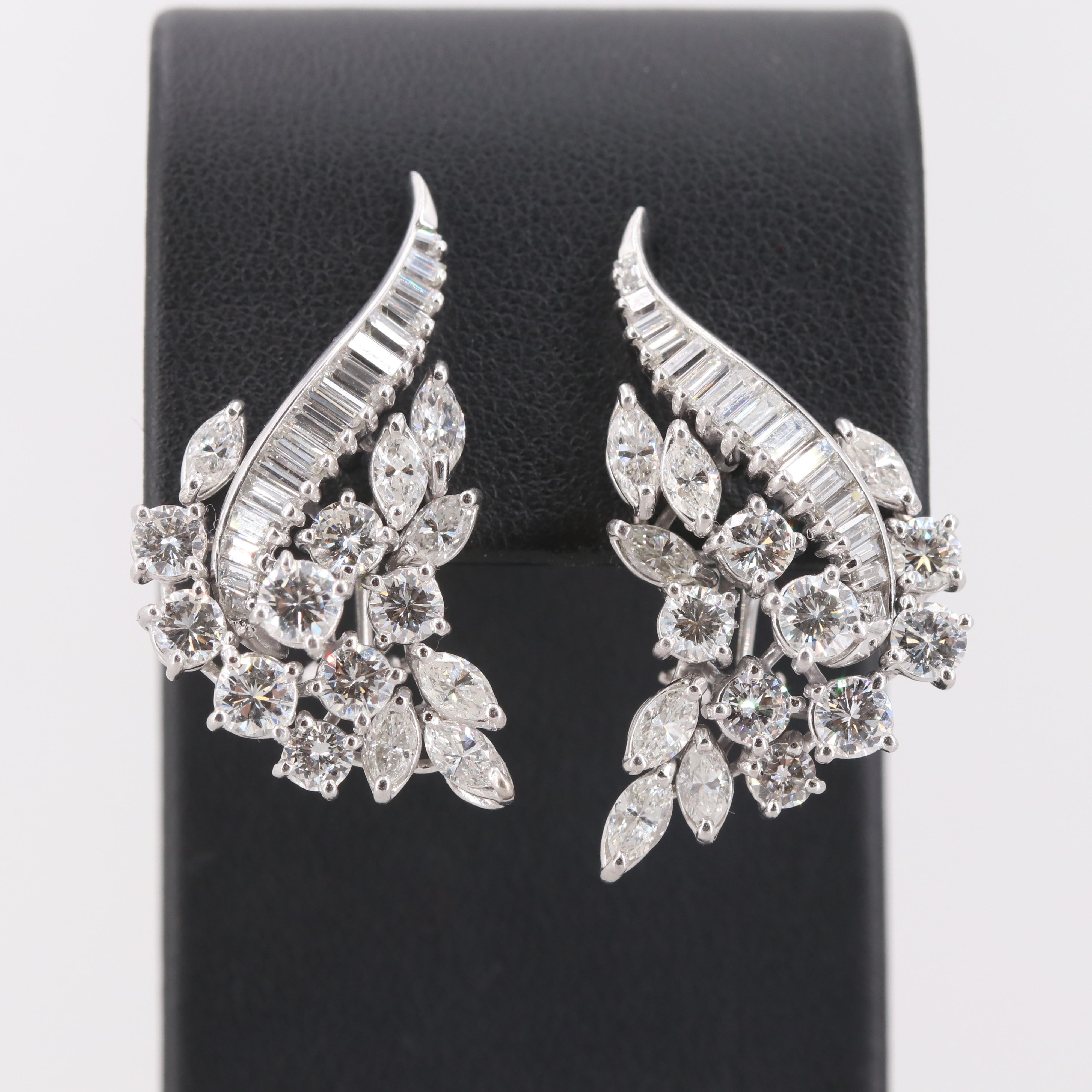 Platinum 7.03 CTW Diamond Earrings with 14K White Gold Closures