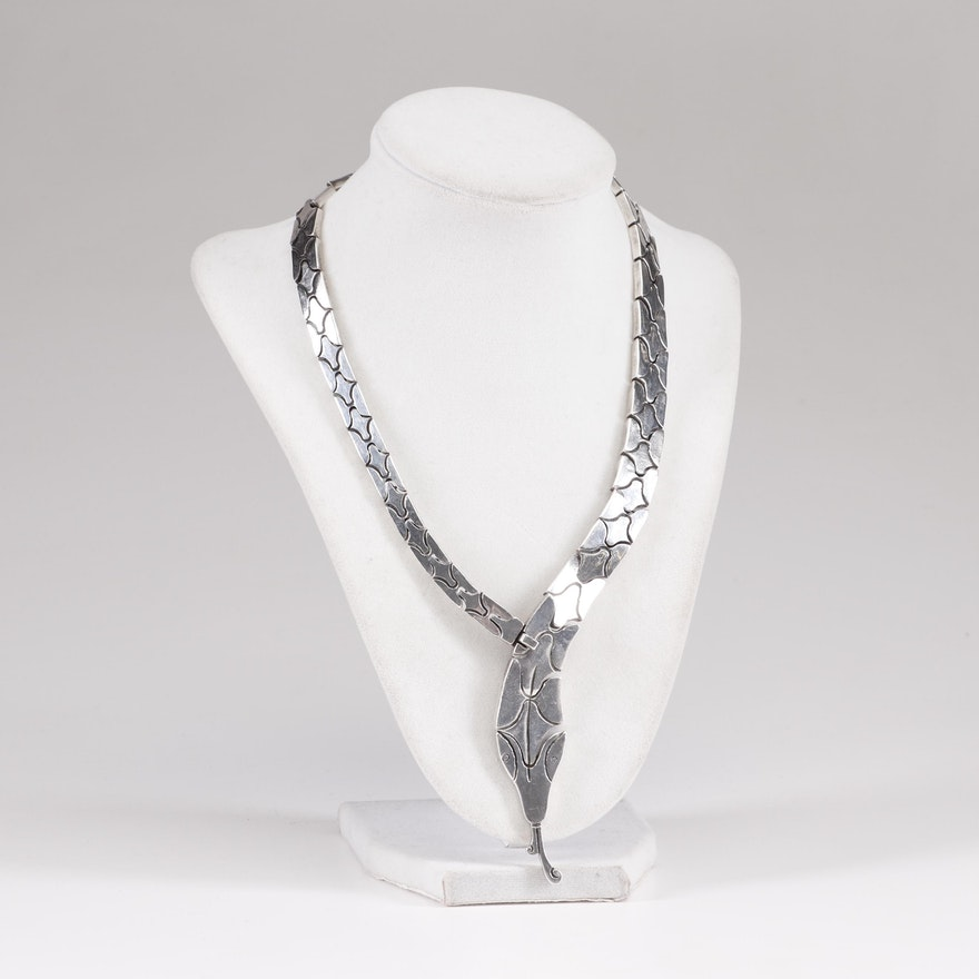 Mexican Sterling Silver Snake Form Necklace
