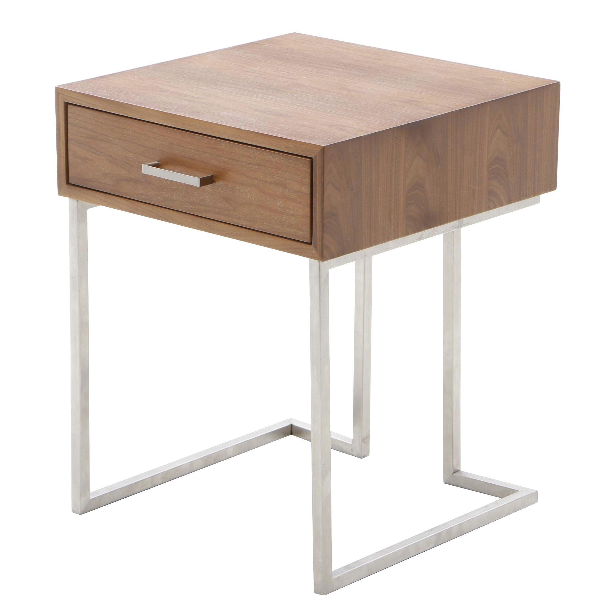 Modernist Wood and Metal Side Table
