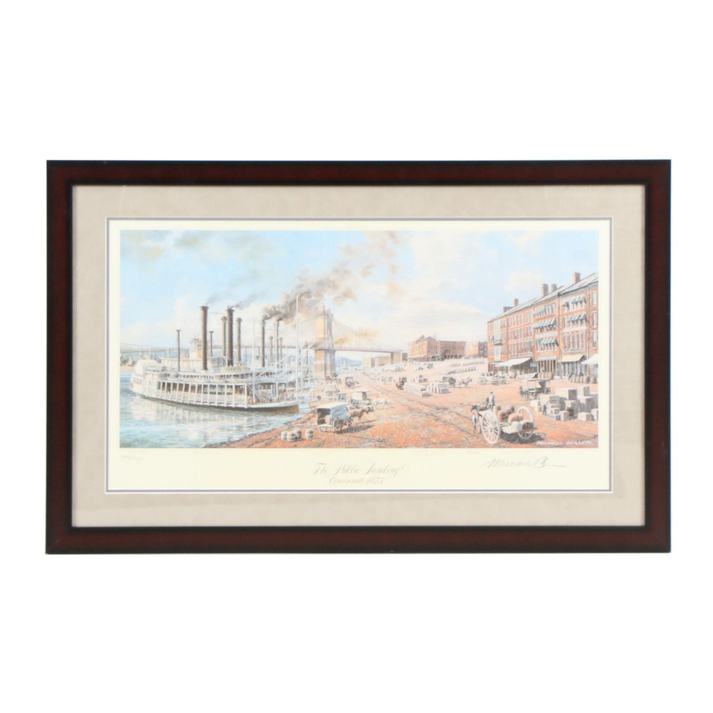 "Michael Blaser Offset Lithograph ""The Public Landing Cincinnati, 1875"""