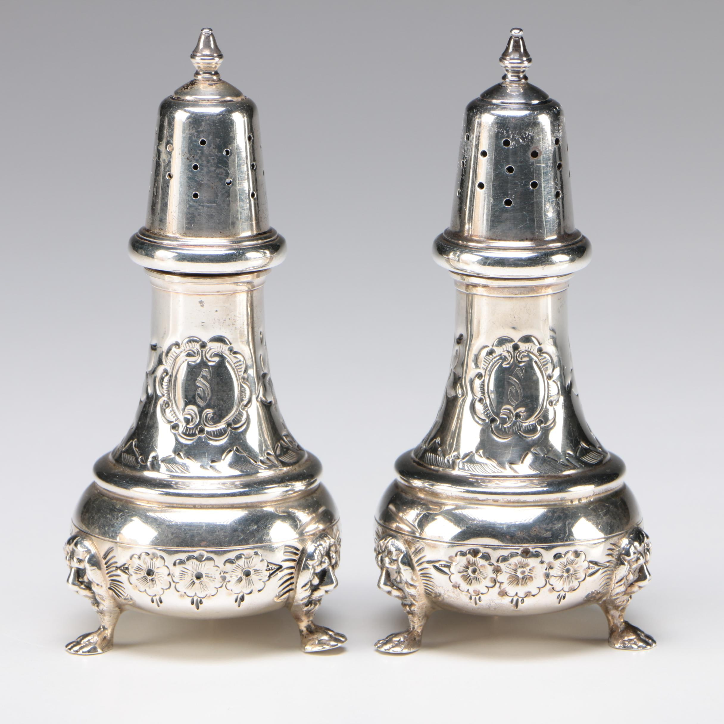 Pair of American Sterling Silver Salt and Pepper Casters with Lion Masks