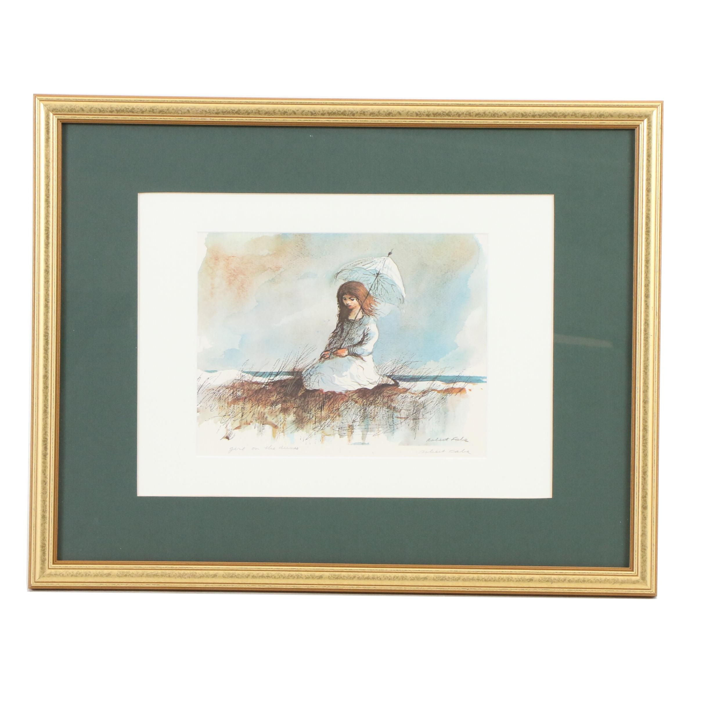 "Robert Fabe Offset Lithograph ""Girl on the Dunes"""