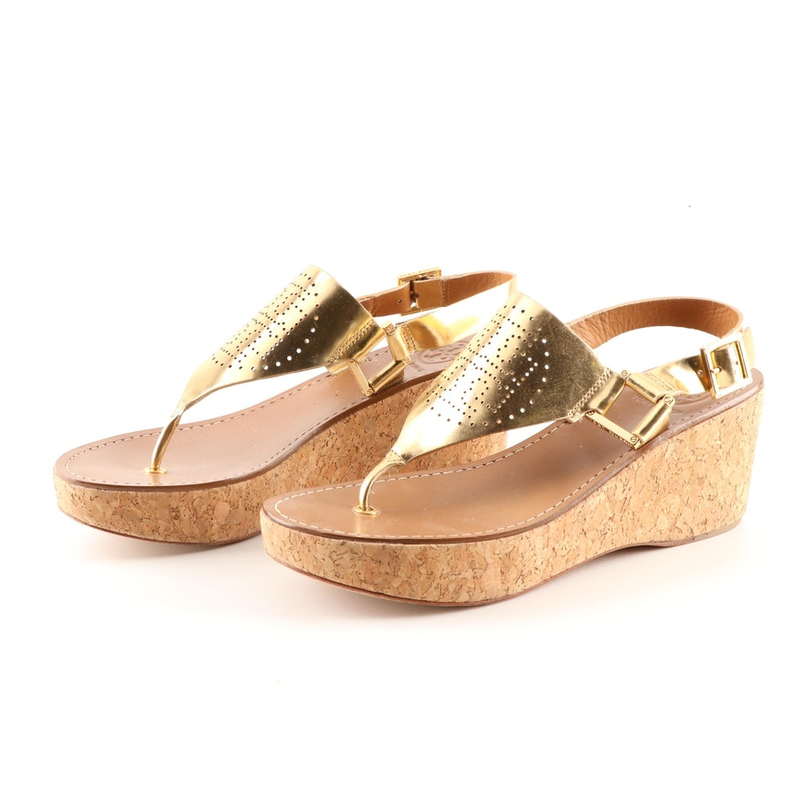 6d16efe48911 Women s Tory Burch Metallic Gold Leather Cork Wedge Sandals