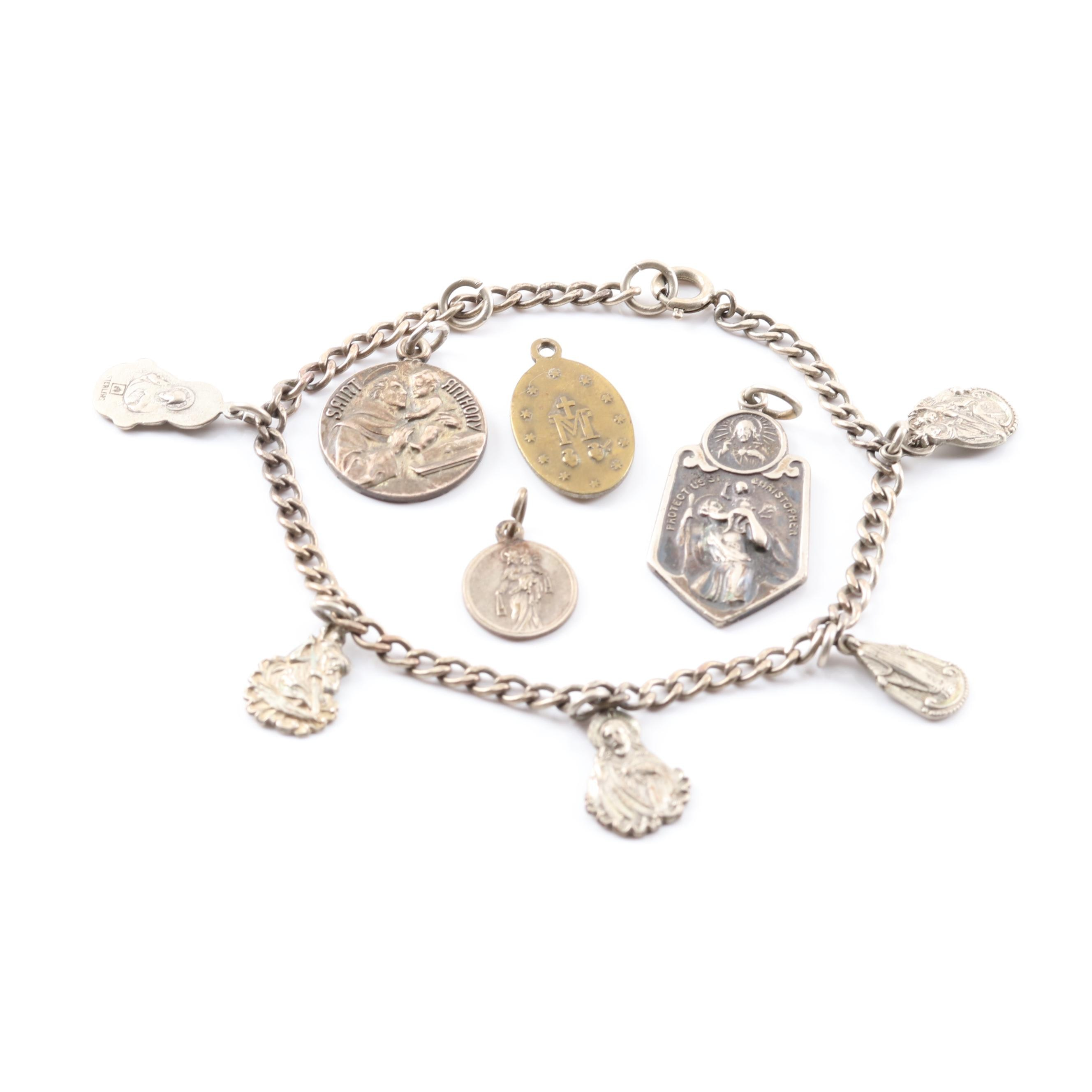 Sterling Silver Themed Charm Bracelet and Charms