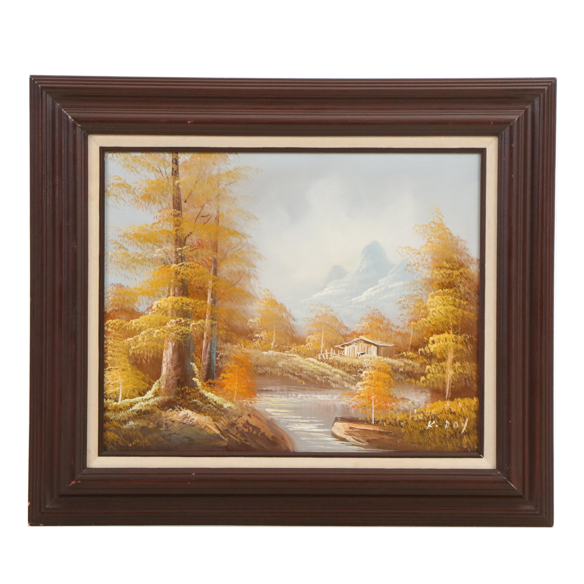 Mid-Century Autumn Landscape Oil Painting