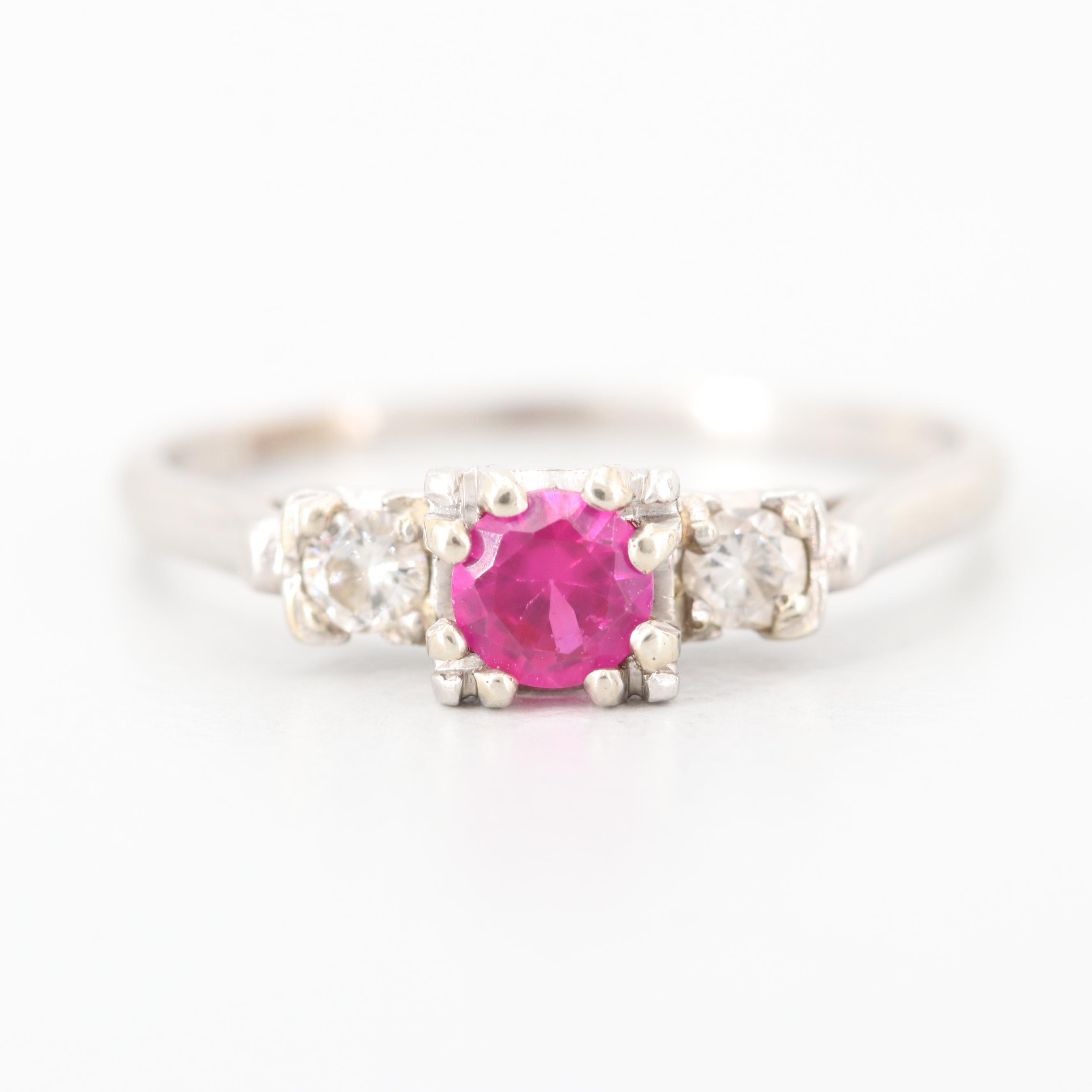 Platinum Synthetic Ruby and Diamond  Ring
