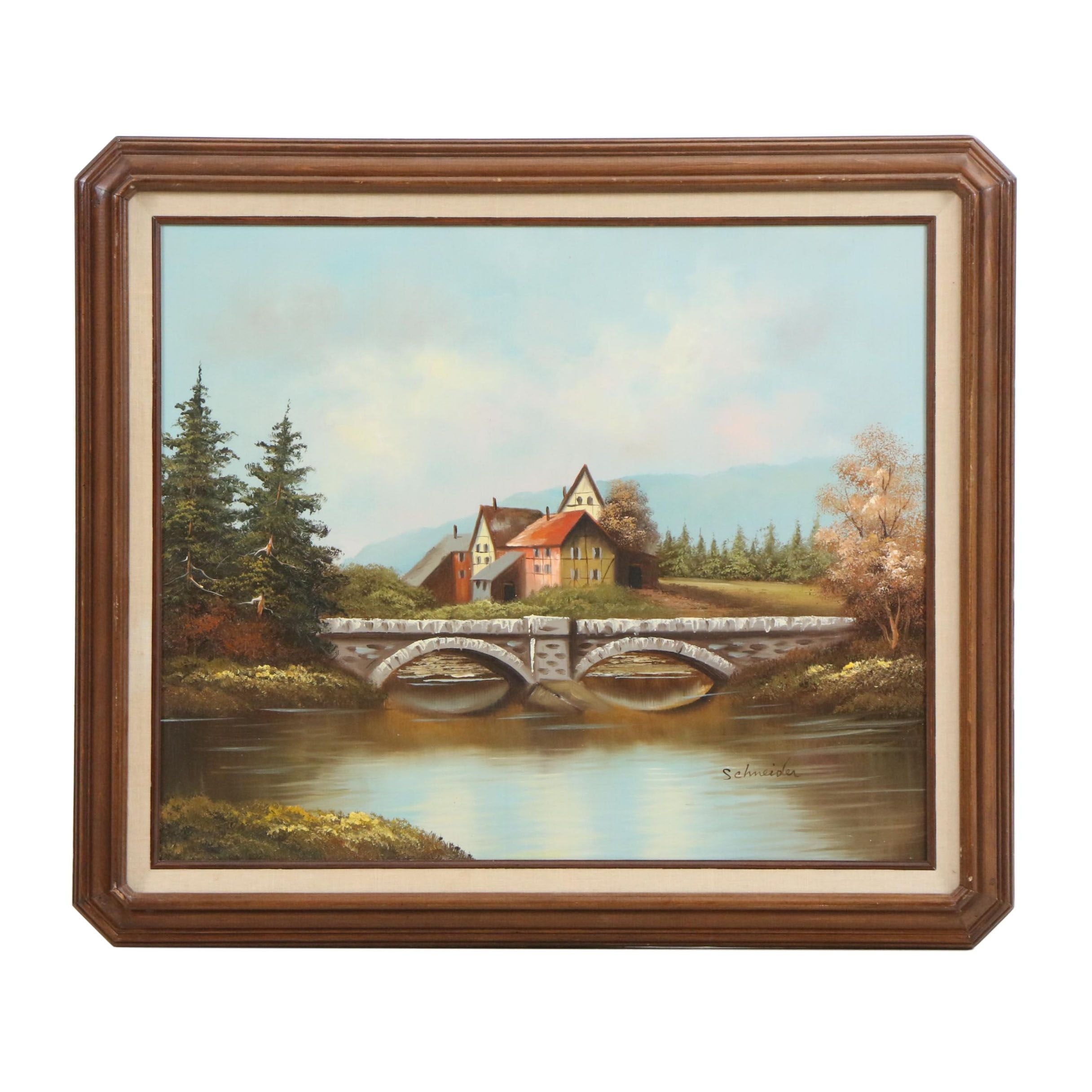 Schneider Naive Style Oil Painting of Landscape
