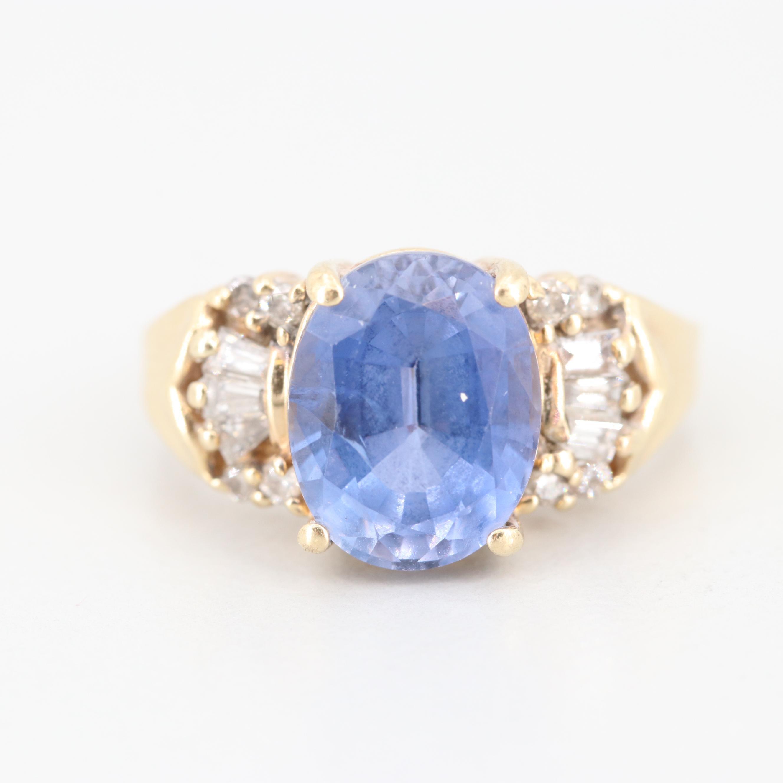 10K Yellow Gold 3.71 CT Sapphire and Diamond Ring
