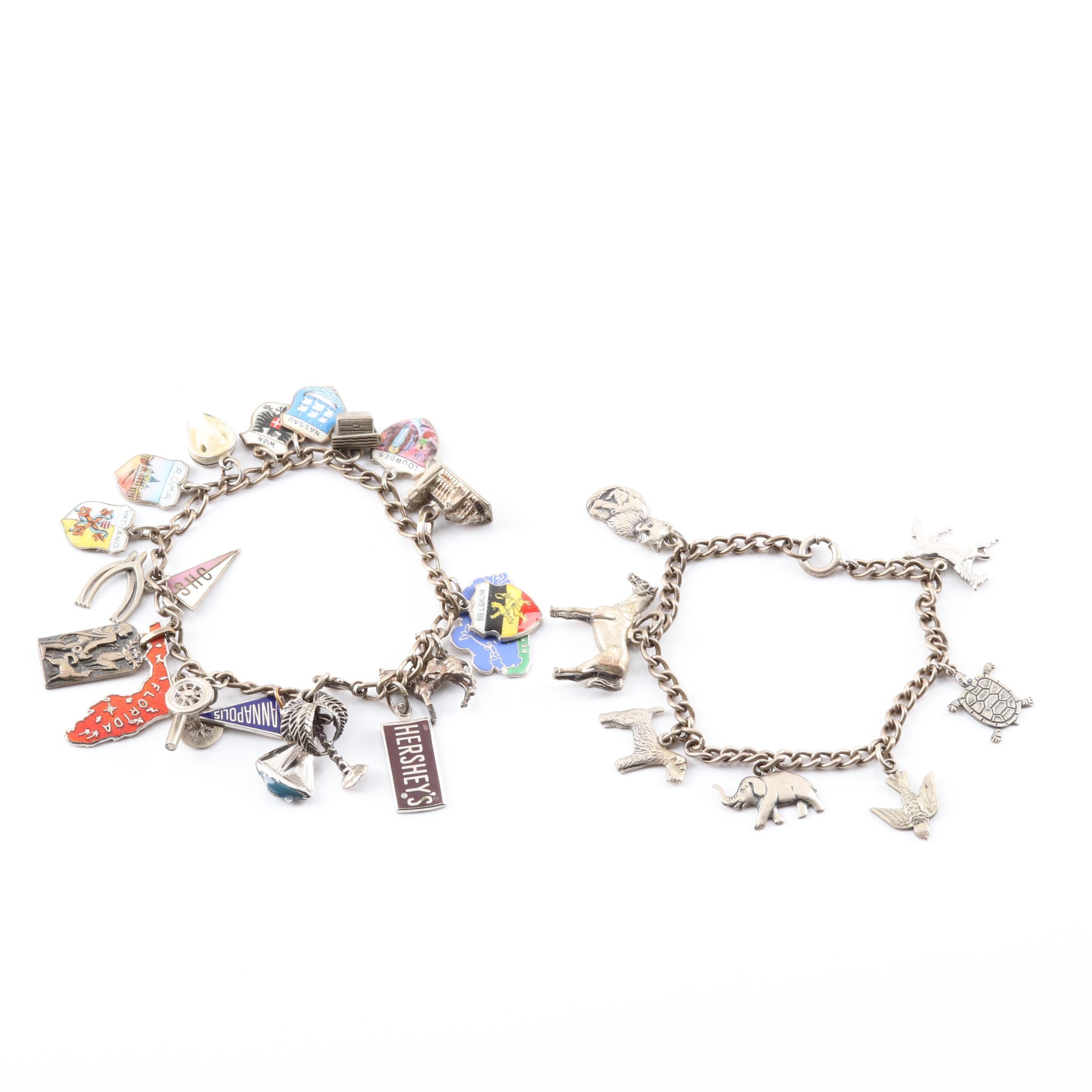 Sterling Silver and Silver Plated Charm Bracelets