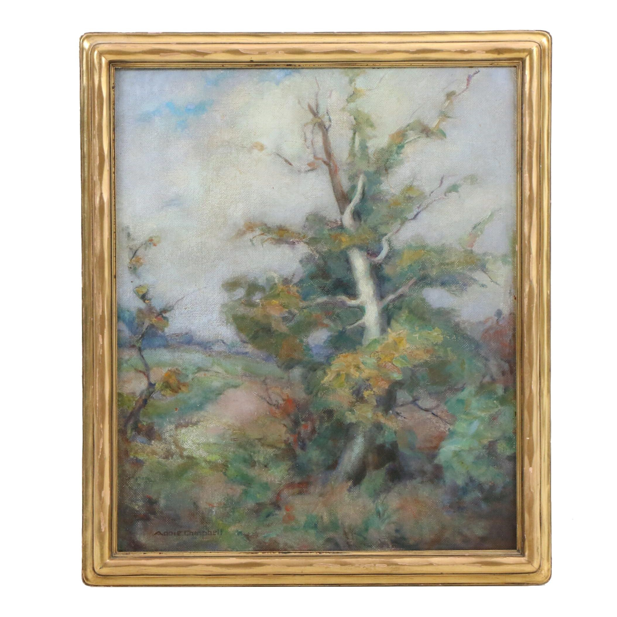"""Annie Campbell Mid Century Oil Painting """"The Sycamore"""""""