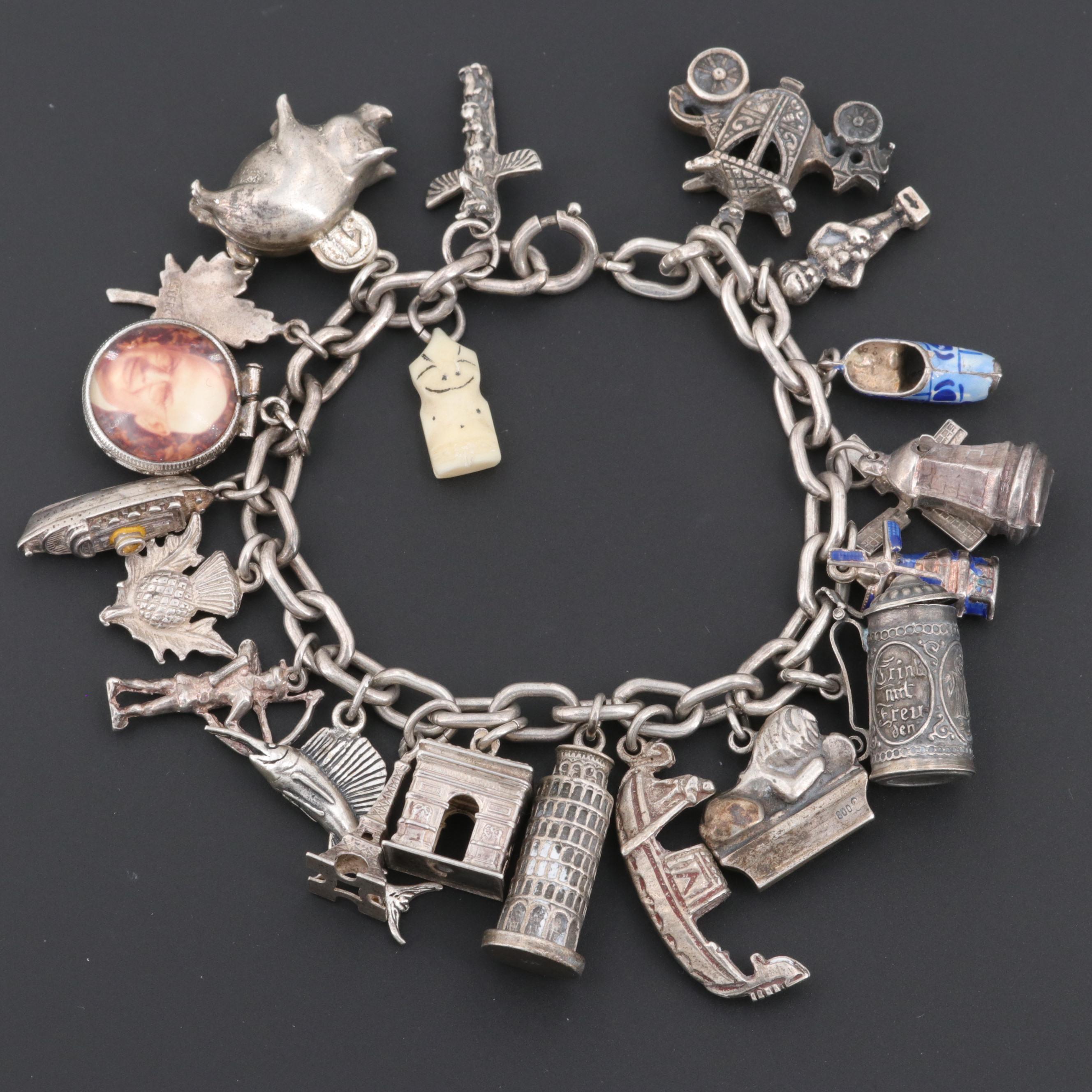 Vintage Silver Tourist Charm Bracelet Including Billiken Charm