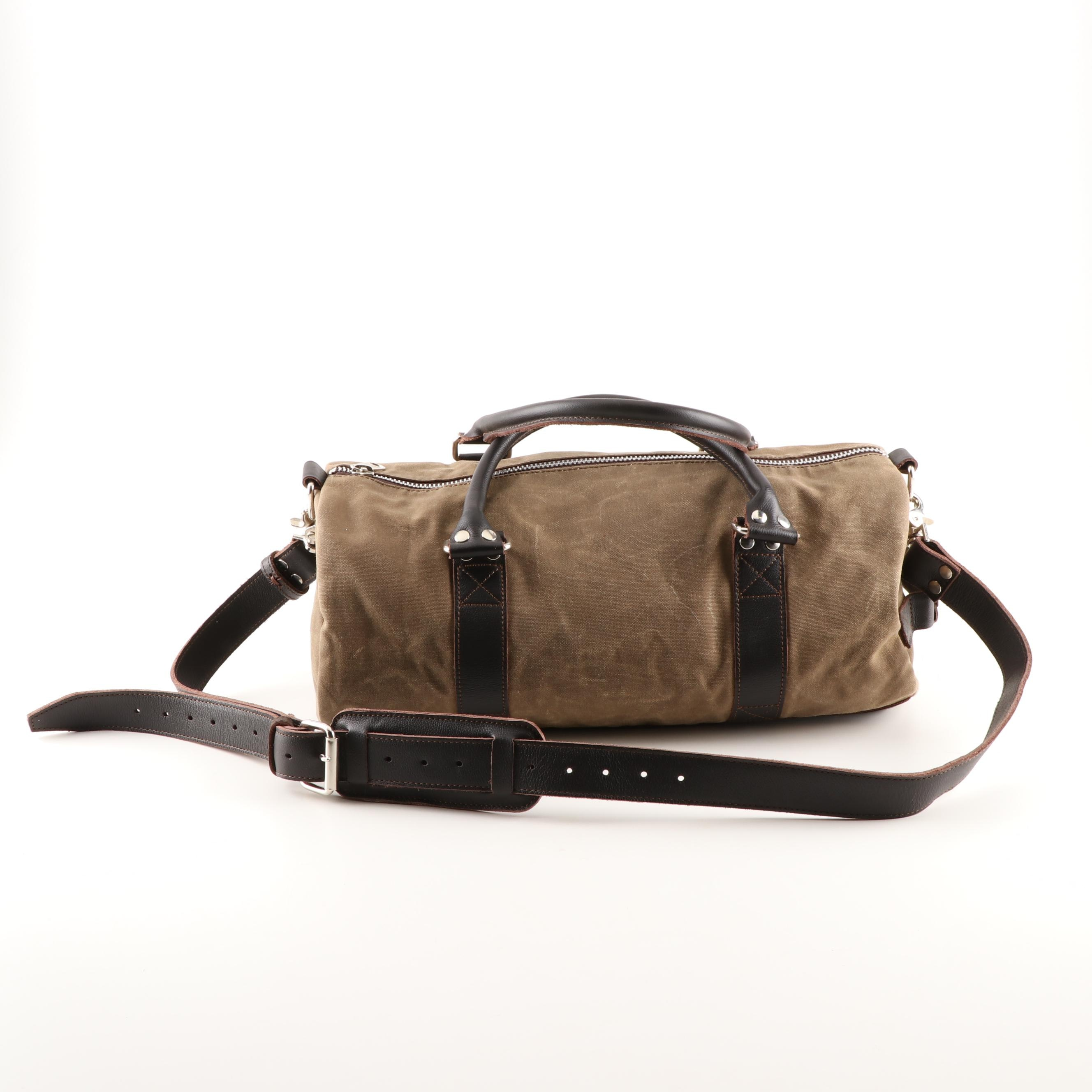 Buffalo Jackson Trading Co. Taupe Canvas and Brown Leather Small Duffle Bag