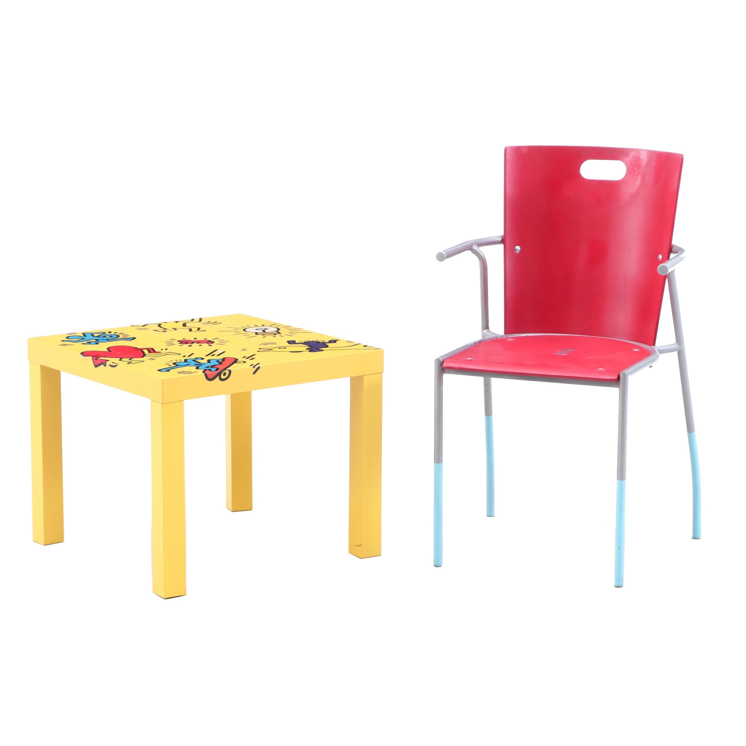 Modern Chair and Keith Haring Inspired IKEA Side Table