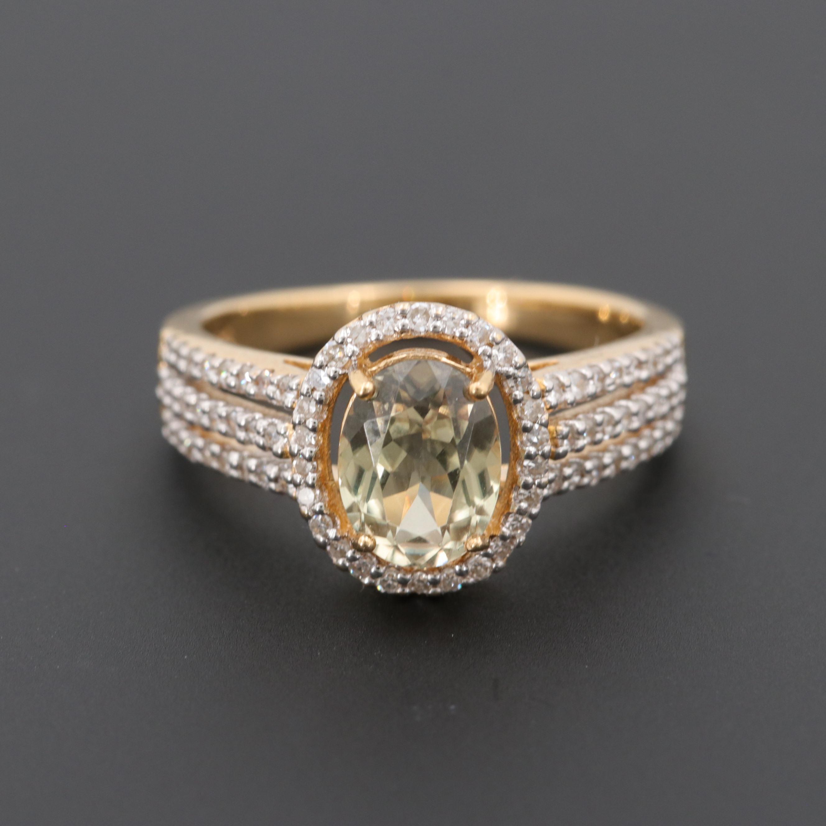 18K Yellow Gold Zultanite Diospore and Diamond Ring