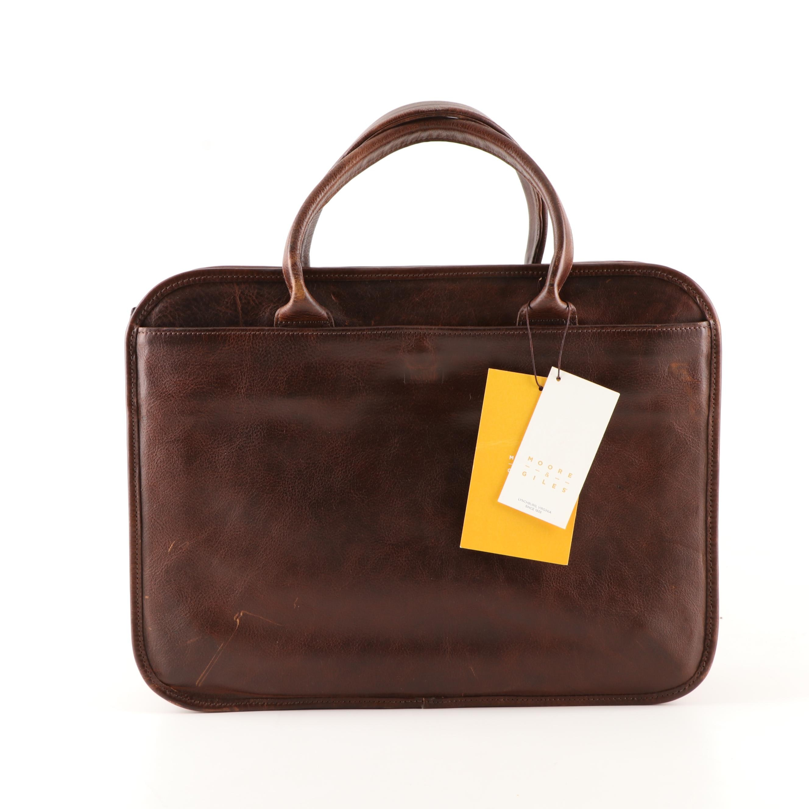 Moore & Giles Brown Leather Briefcase