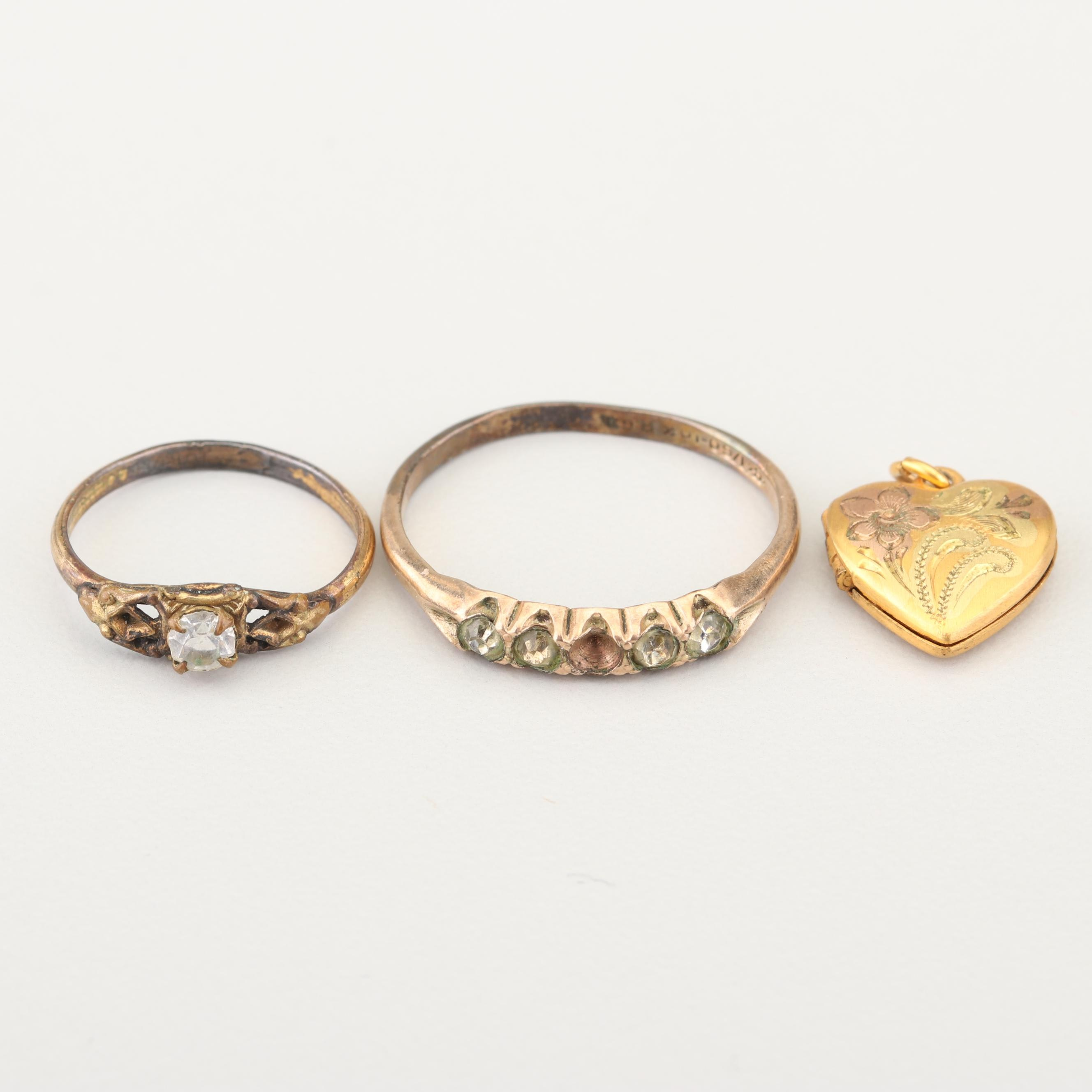 Gold Filled Rings and Heart Locket