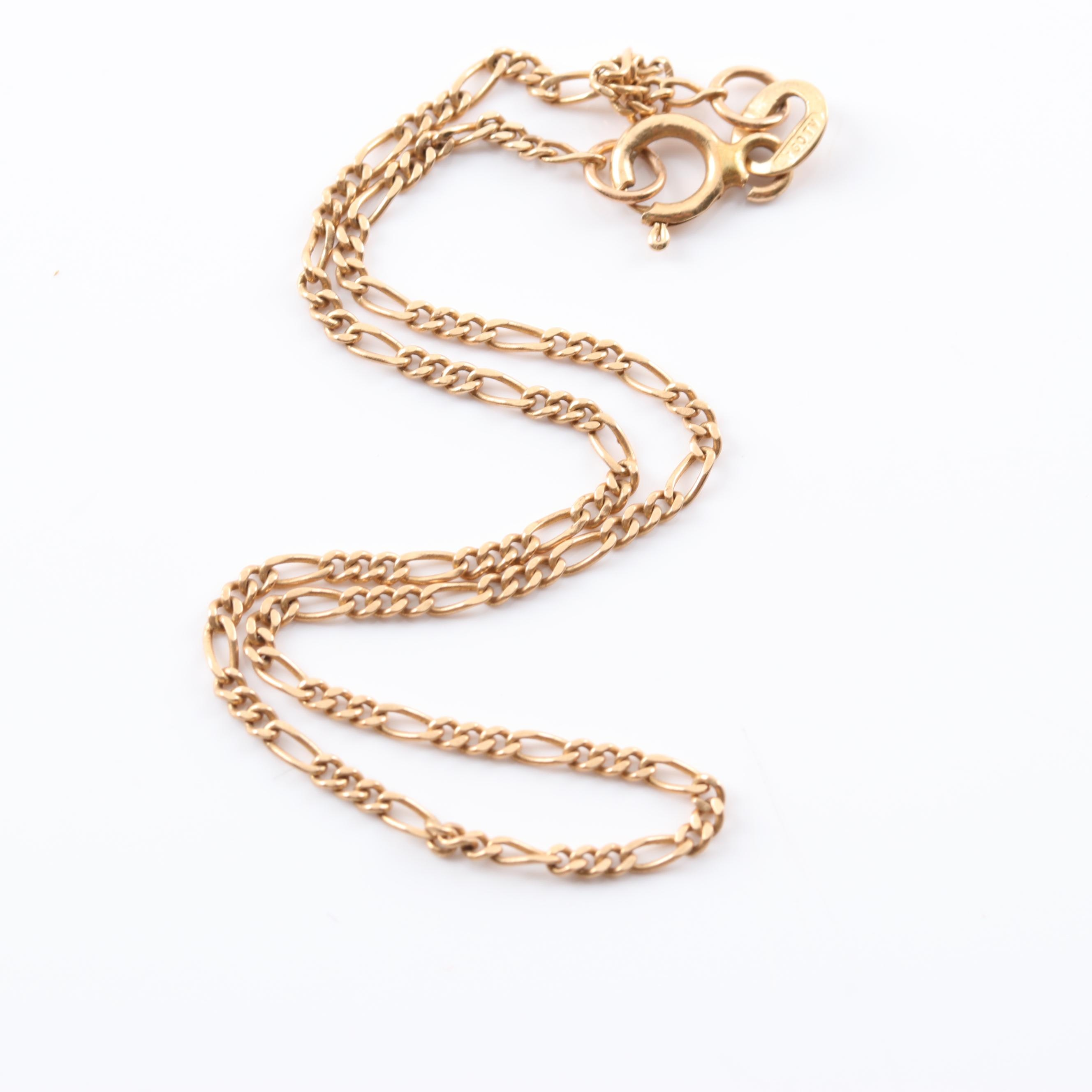 14K Yellow Gold Figaro Style Bracelet