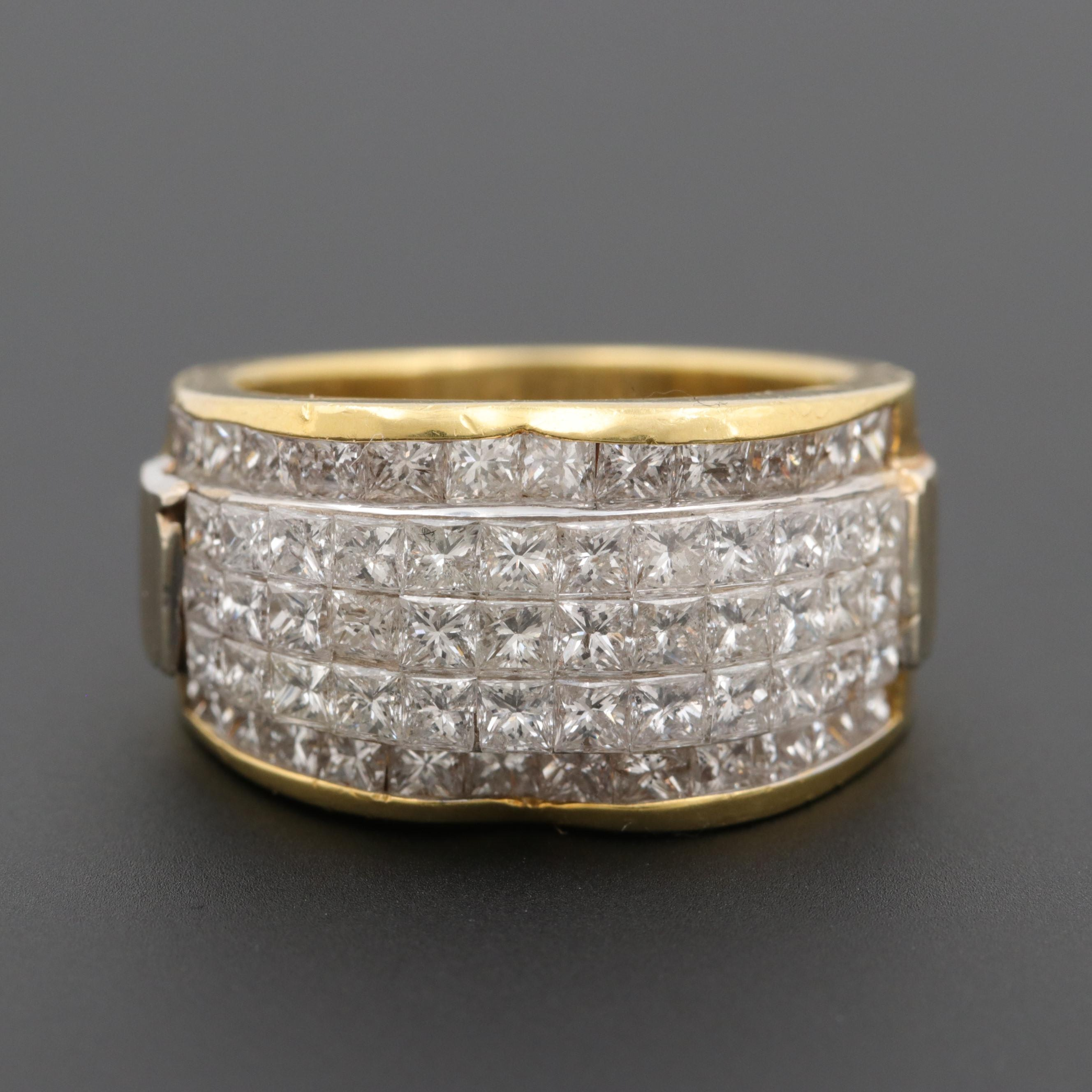 18K Yellow Gold 3.00 CTW Diamond Ring with 18K White Gold Setting