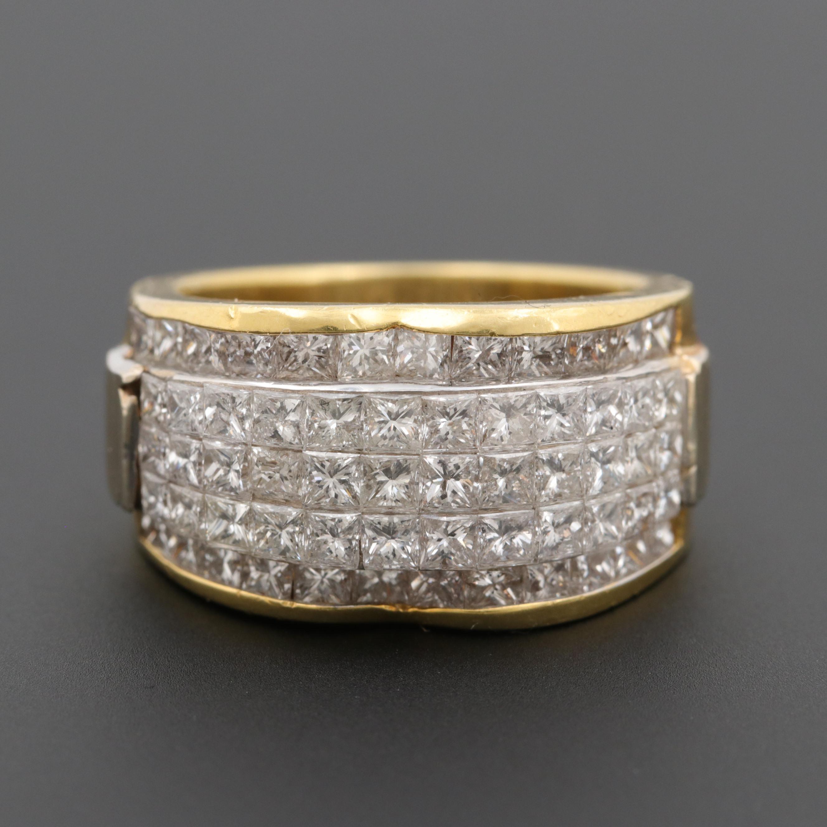 18K Yellow Gold 3.00 CTW Diamond Ring with 18K White Gold Setting
