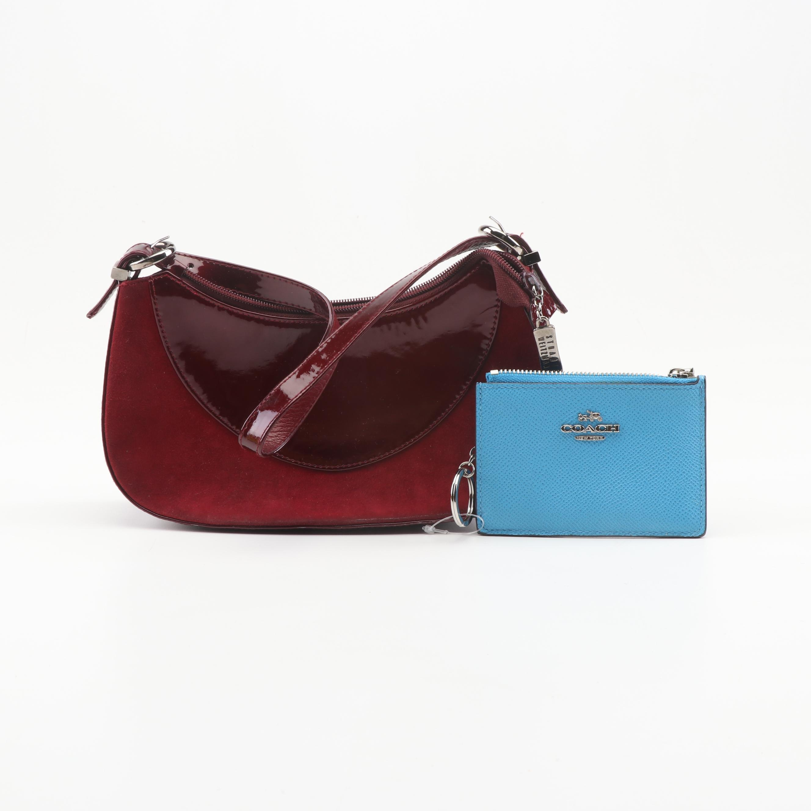 Stuart Weitzman Suede and Patent Leather Handbag and Coach Leather Wallet