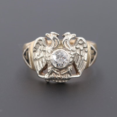 Scottish Rite of Freemasonry 14K Yellow Gold and Platinum