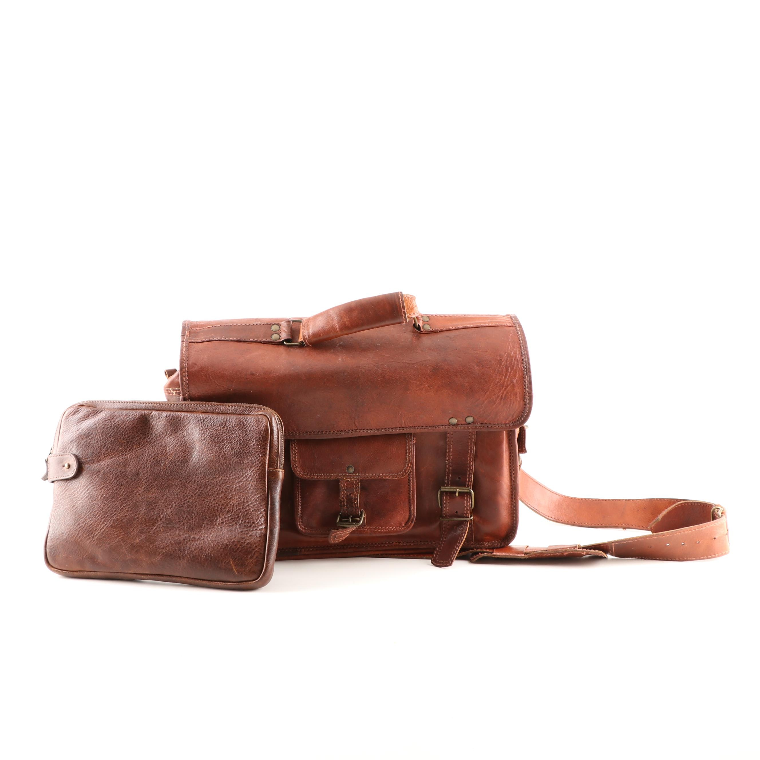 Moore & Giles Brown Leather Laptop Case with Brown Leather Messenger Bag