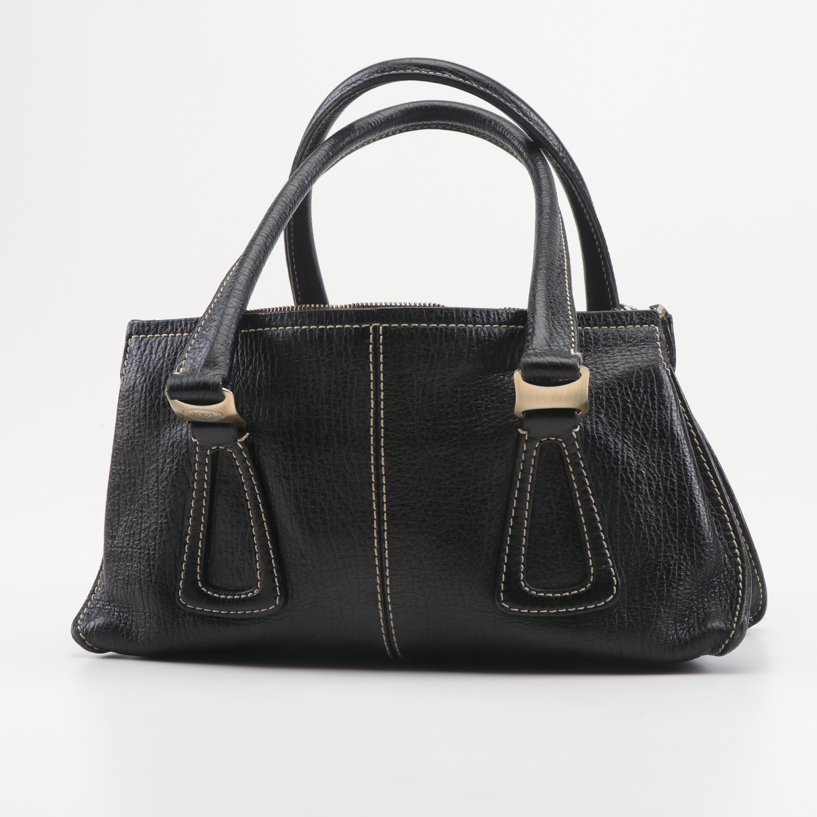 Tod's Black Grained Leather Satchel, Made in Italy