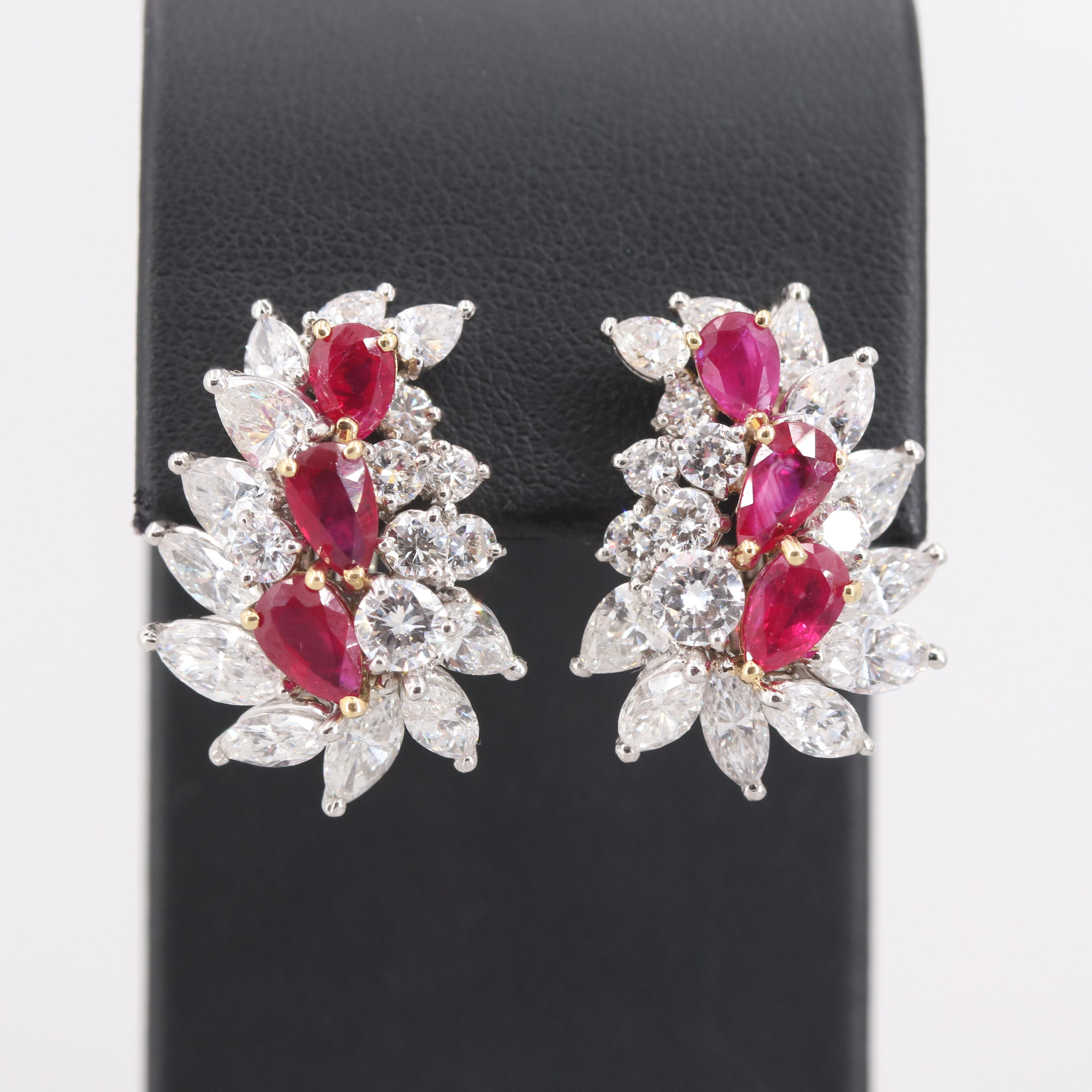 Platinum 4.77 CTW Burmese Ruby and 8.95 CTW Diamond Earrings with AGL Report
