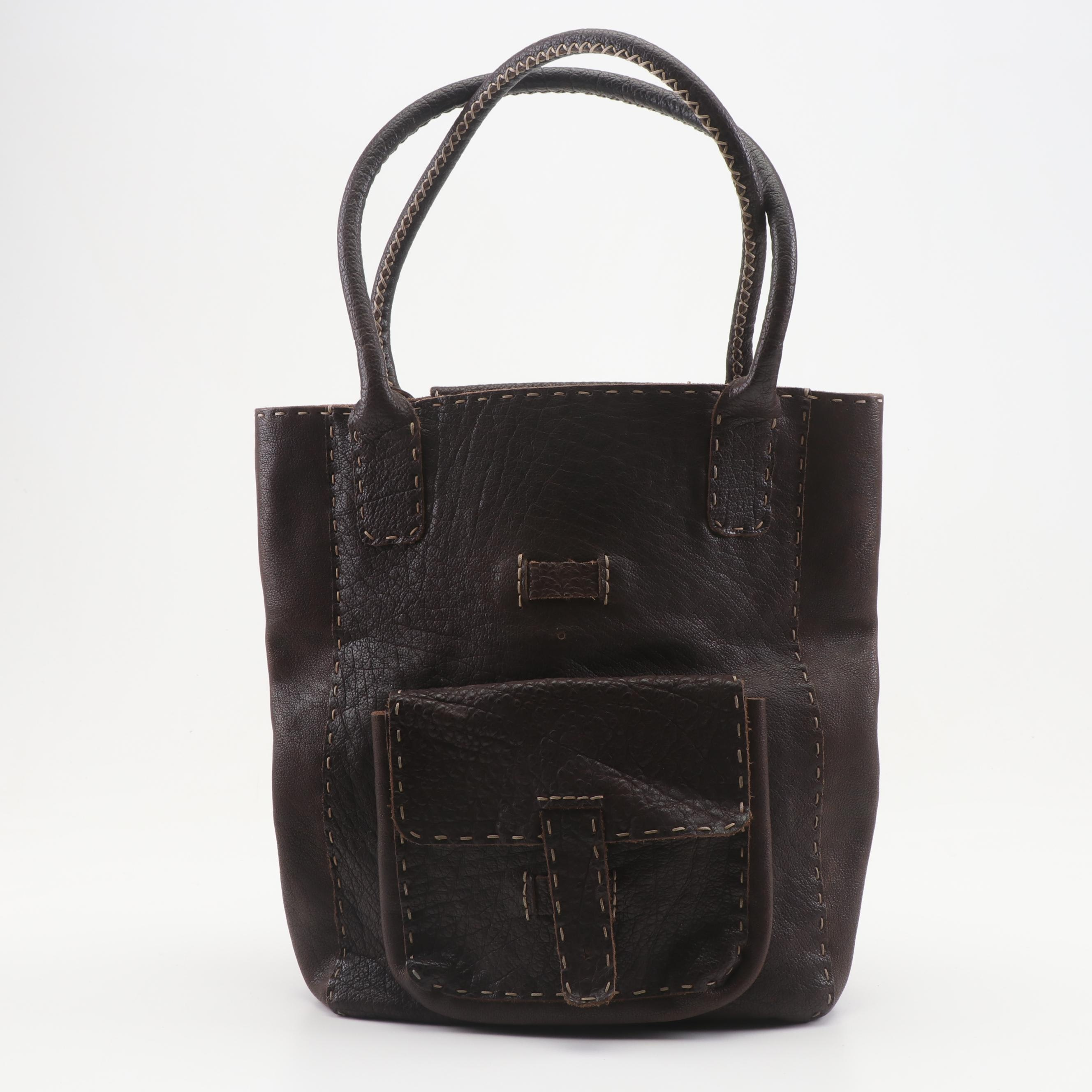 Yosuke Yajima Dark Brown Grained Leather Tote Shoulder Bag