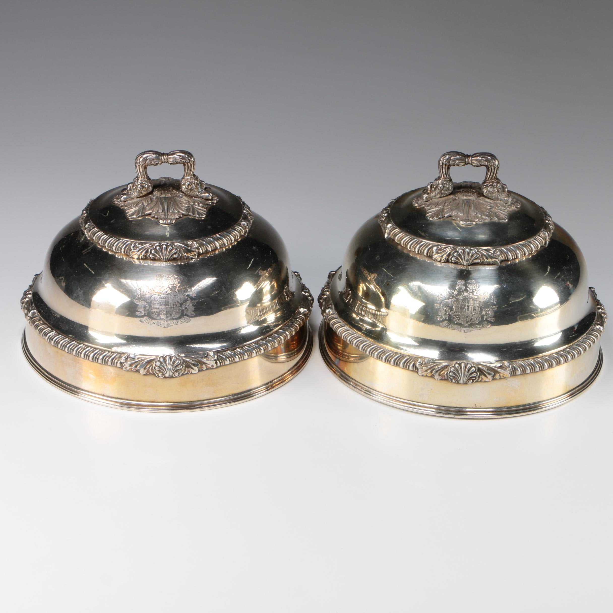 Pair of George IV Sheffield Silver Plate Armorial Serving Cloches