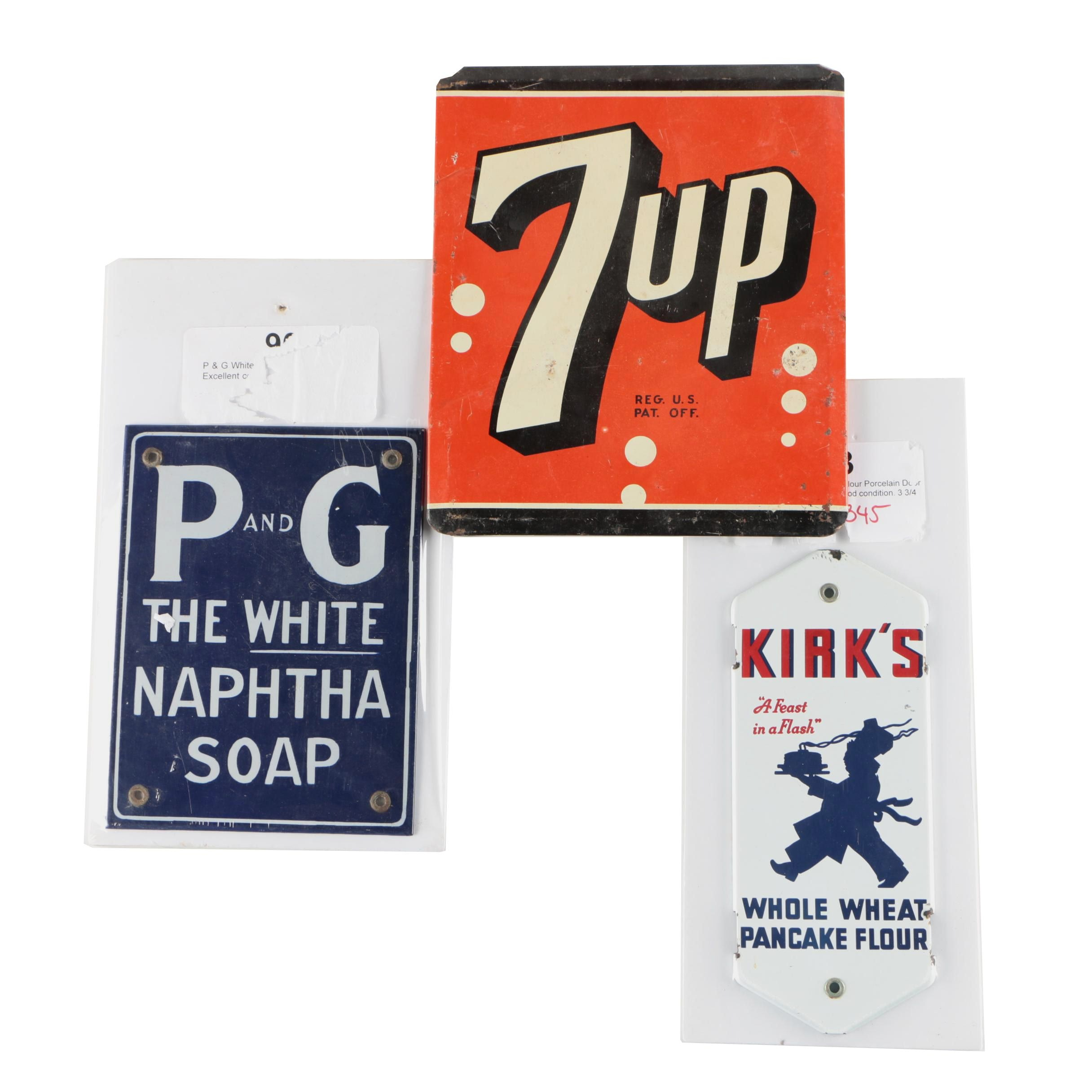 P&G and Kirk's Porcelain Advertisement Plaques with 7 UP Sign, Vintage