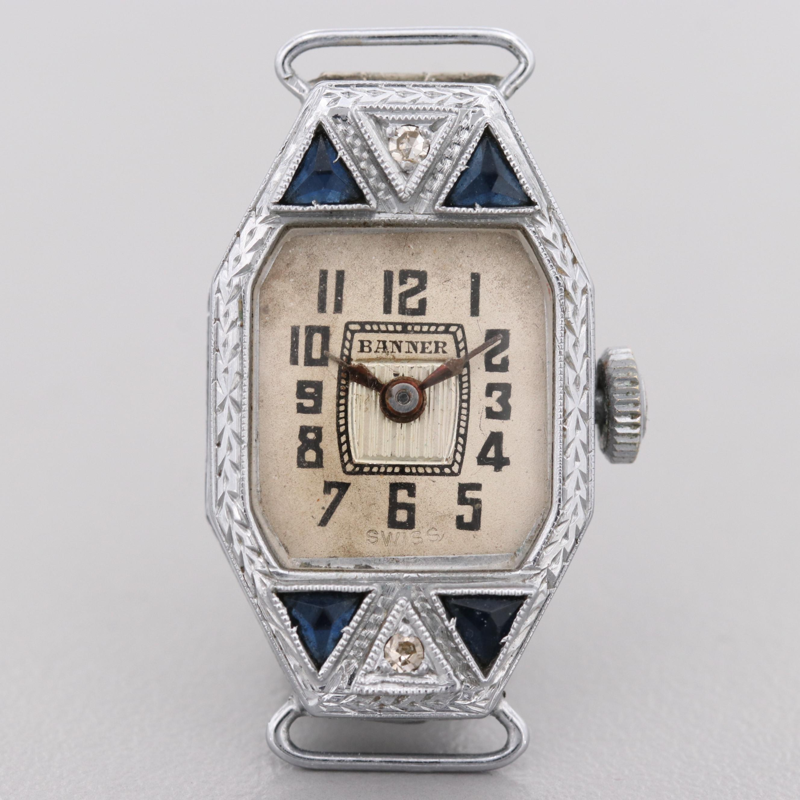 Banner 14K White Gold Diamond and Blue Glass Wristwatch