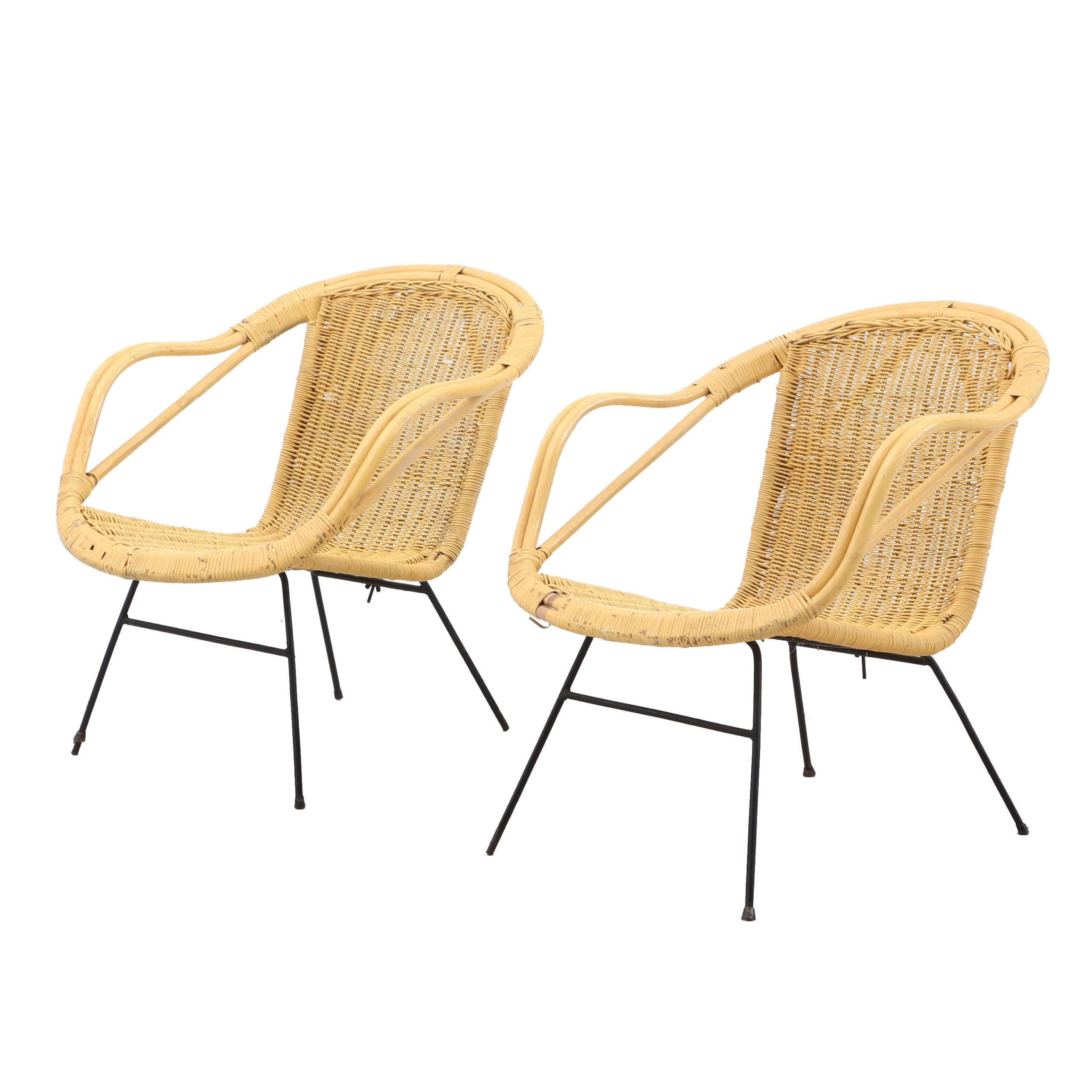 Two Yellow Wicker Chairs