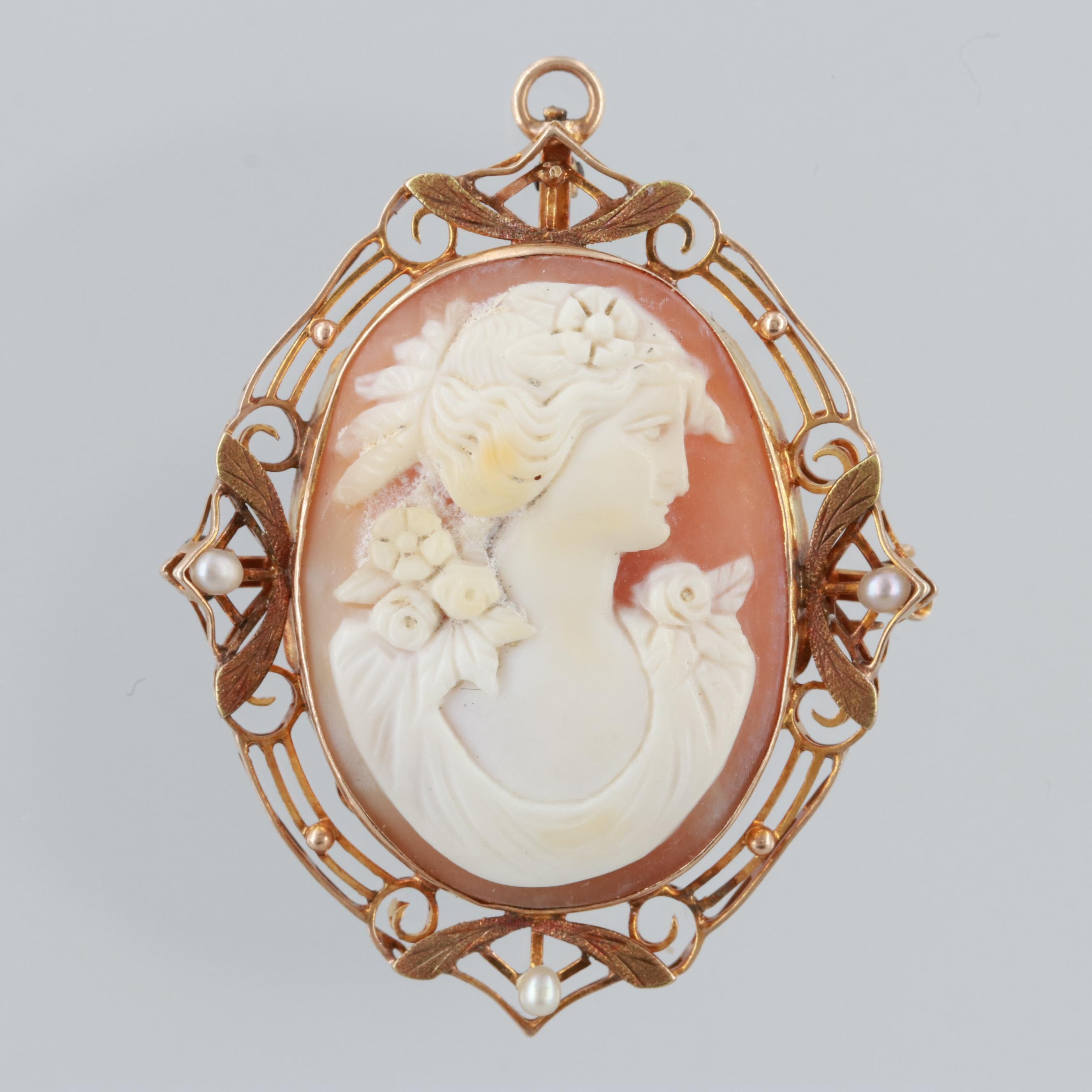Victorian 10K Rose Gold Carved Shell Cameo and Cultured Pearl Converter Brooch