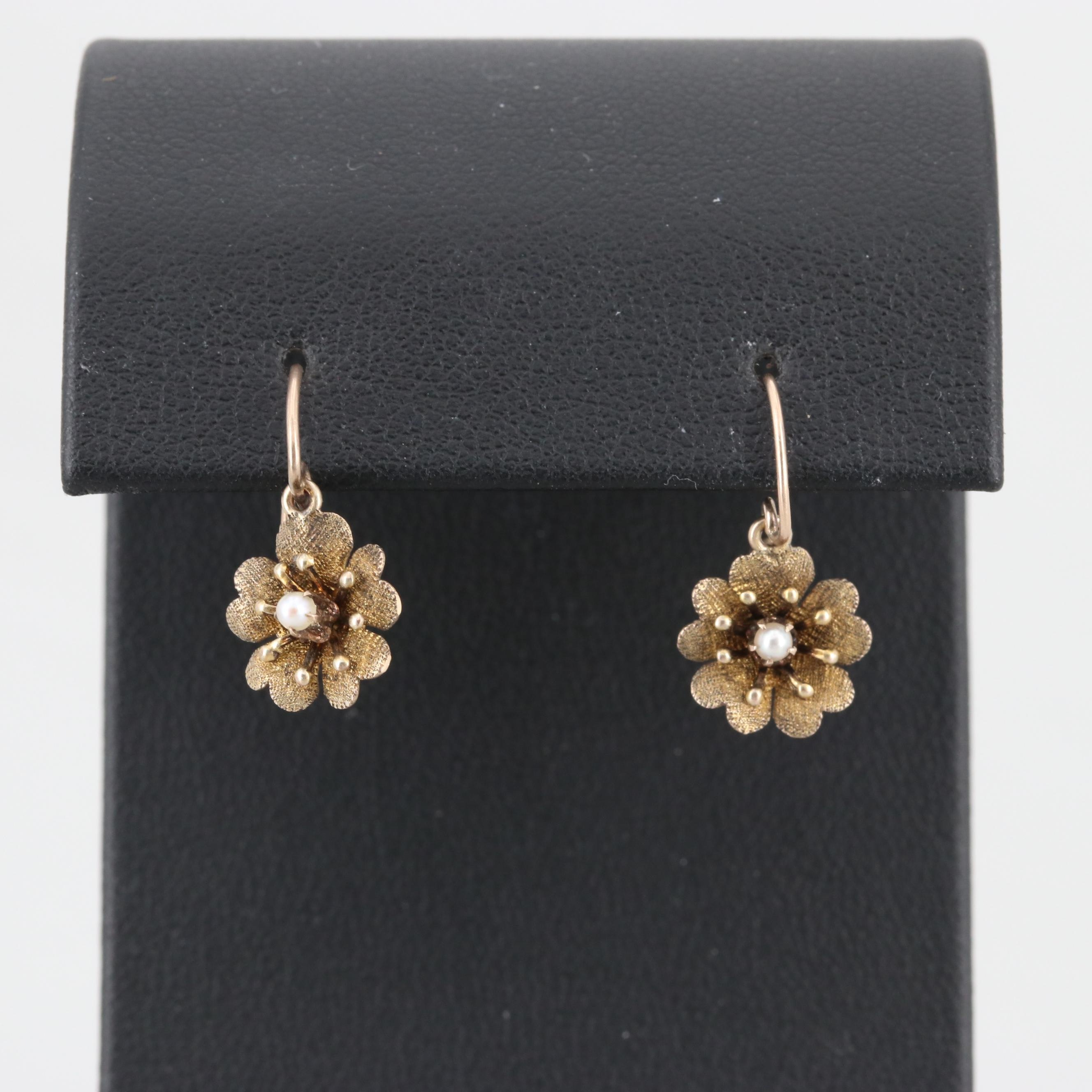 Circa 1900 8K Yellow Gold Seed Pearl Earrings