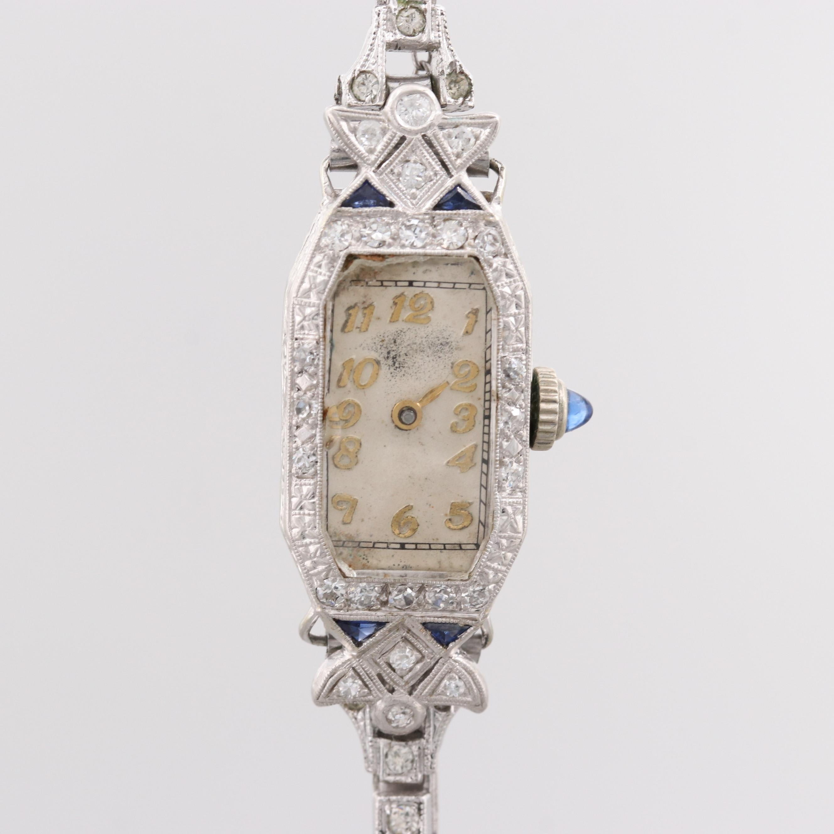 Swiss Platinum and 18K White Gold Diamond and Sapphire Wristwatch
