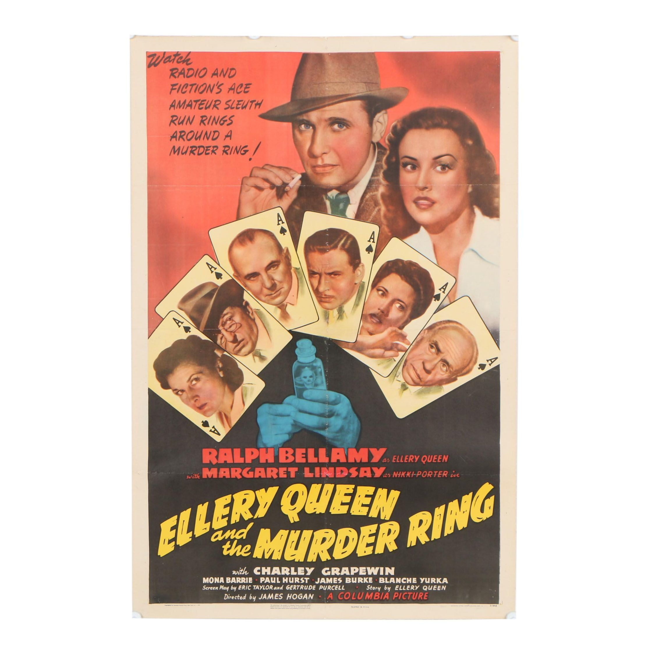 """Ellery Queen and the Murder Ring"" Theatrical One Sheet Poster, 1941"