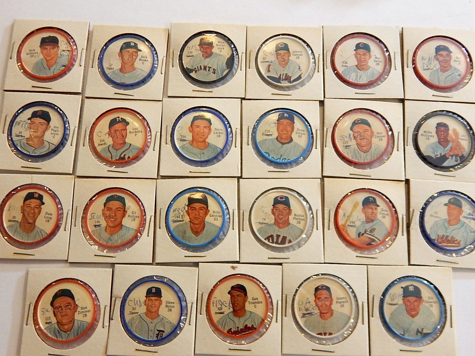 1962 Salada Junket Baseball Coins with McCovey, Snider, Hodges, and More