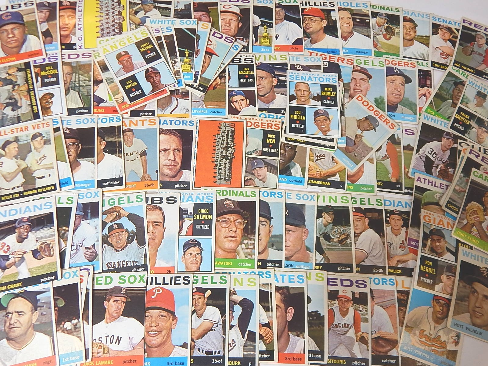 1964 Topps Baseball Card Lot with Stars, Rookies, Team Cards - Piniella Rookie