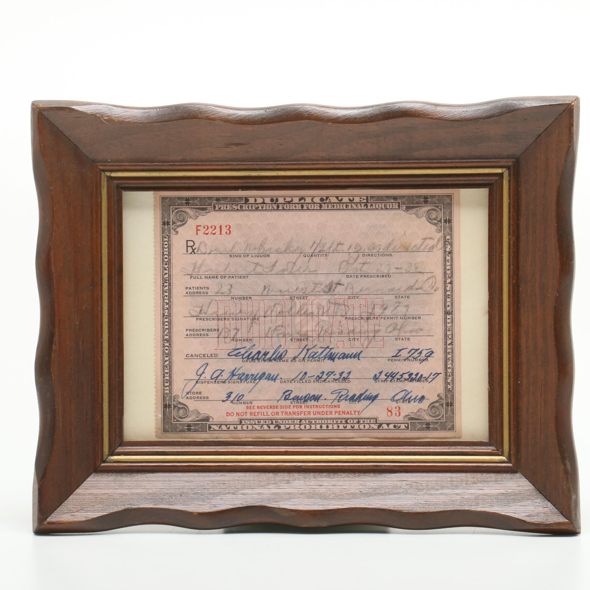 Duplicate 1932 Prohibition Era Whiskey Prescription from Cincinnati Area